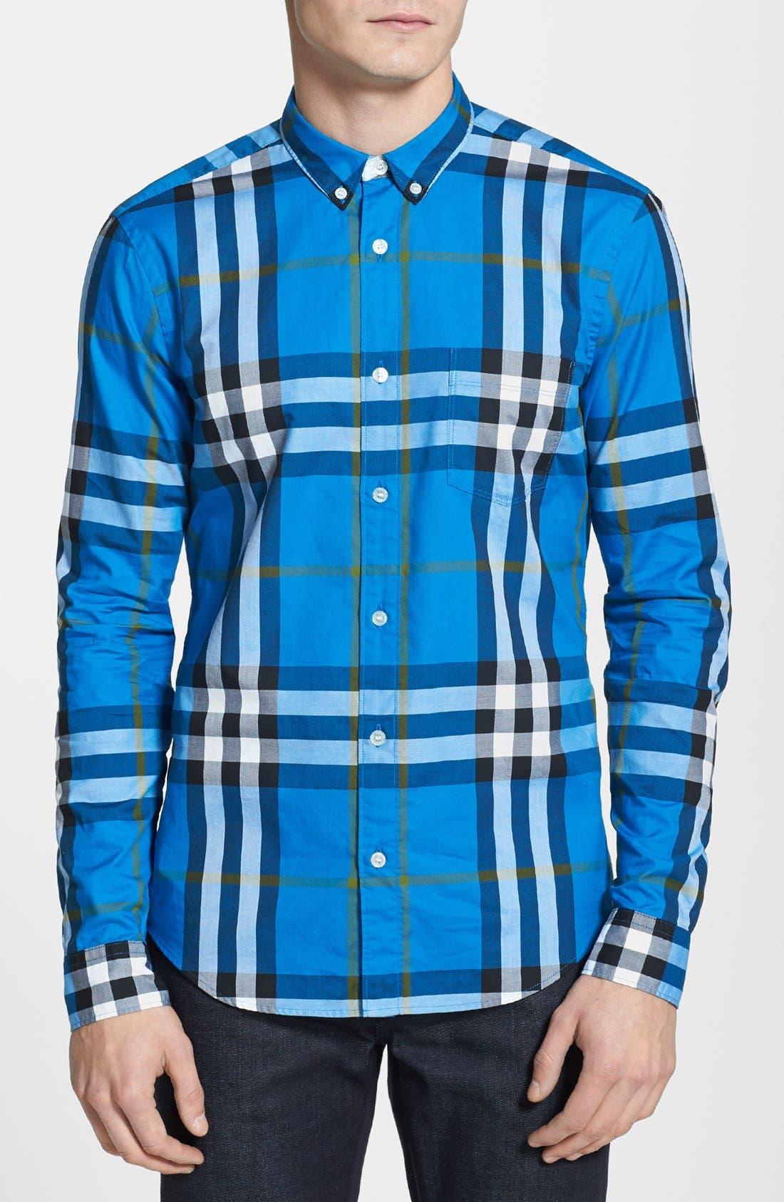 Main Image - Burberry Brit 'Niall' Check Trim Fit Cotton Sport Shirt