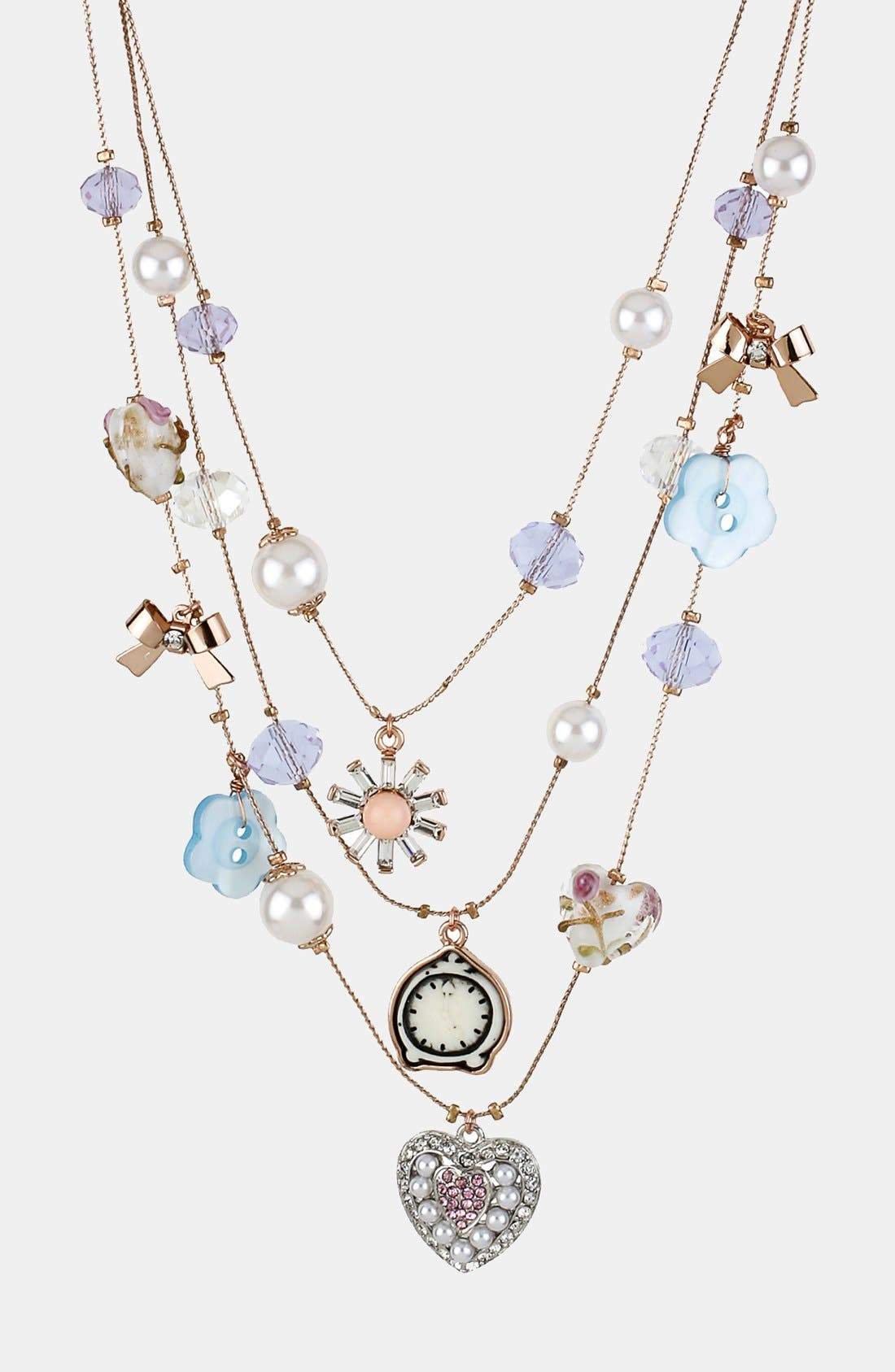 Main Image - Betsey Johnson 'Vintage Bow' Multistrand Necklace