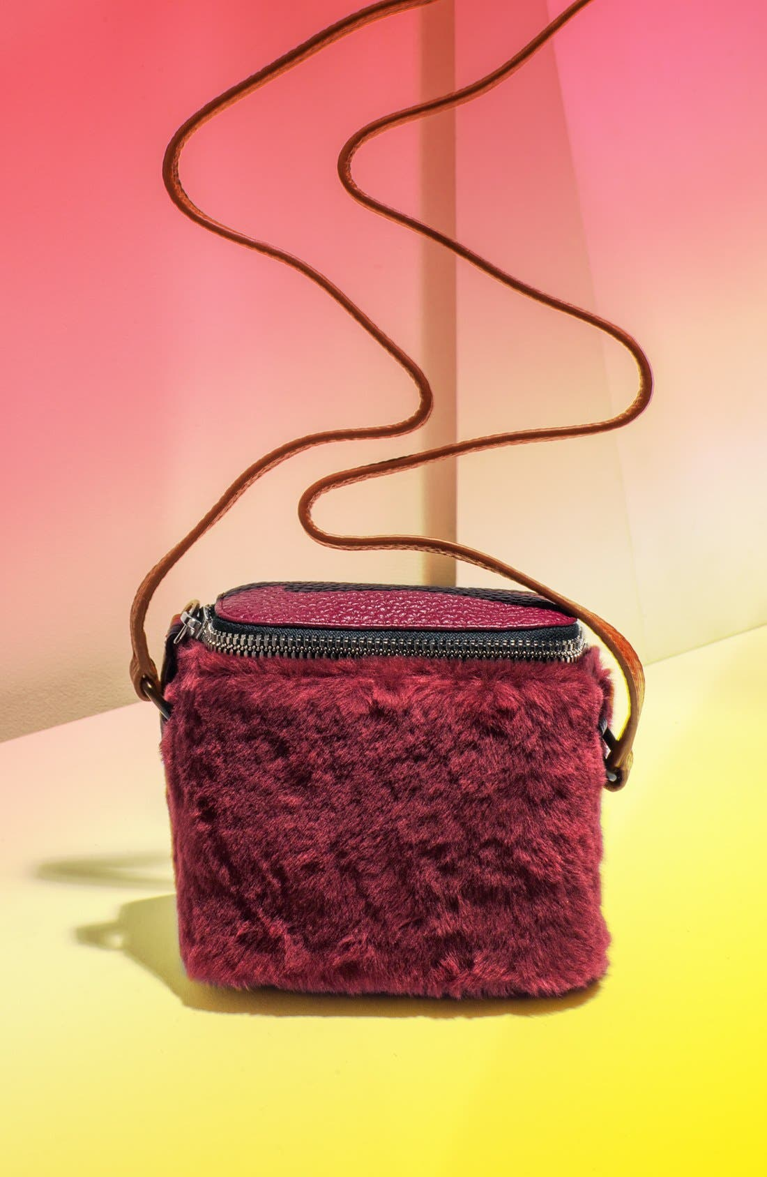 Alternate Image 1 Selected - Kara 'Stowaway' Pebbled Leather & Genuine Shearling Crossbody Bag, Small
