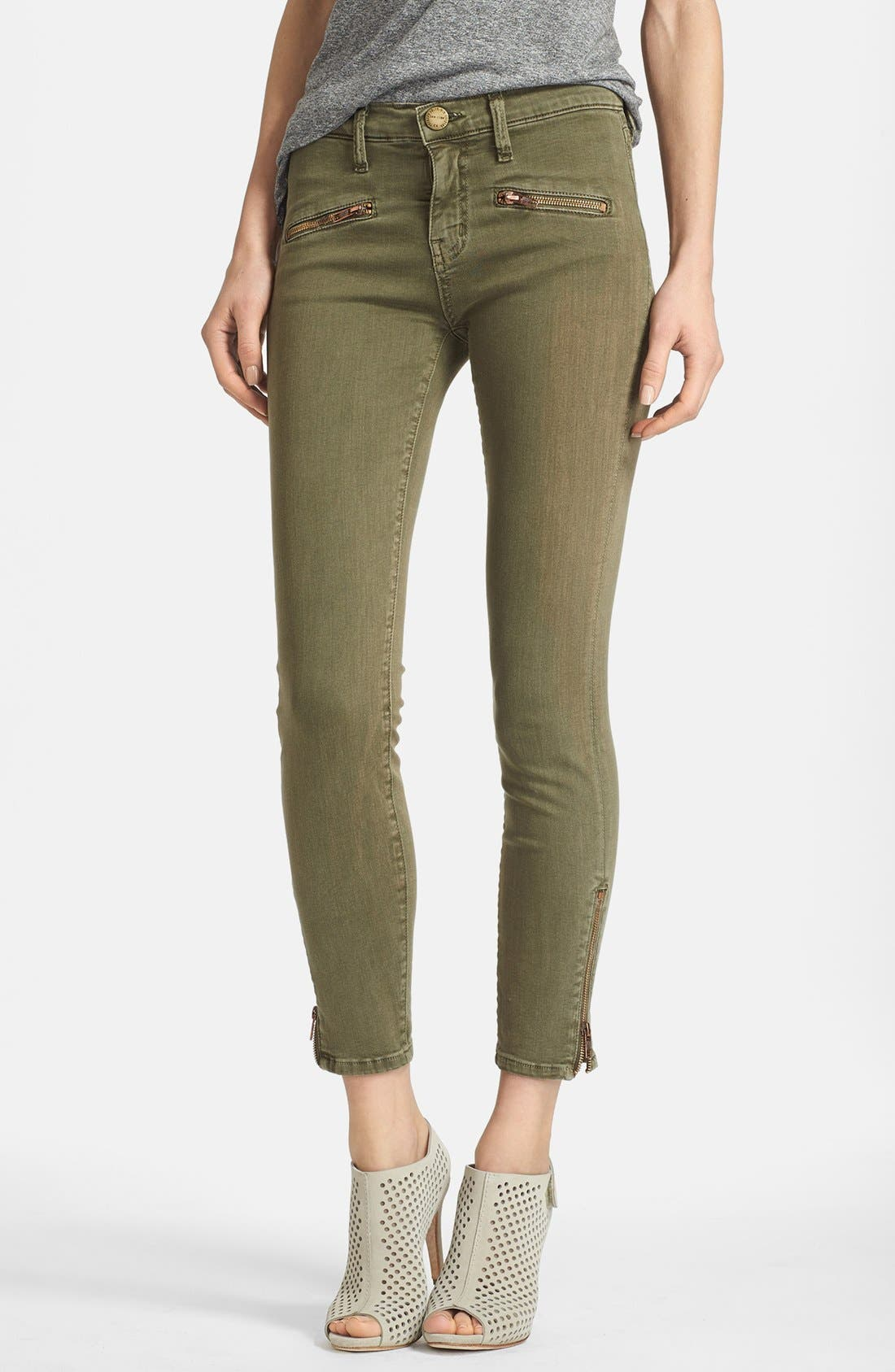 Alternate Image 1 Selected - Current/Elliott 'The Soho Zip Stiletto' Skinny Jeans (Army)