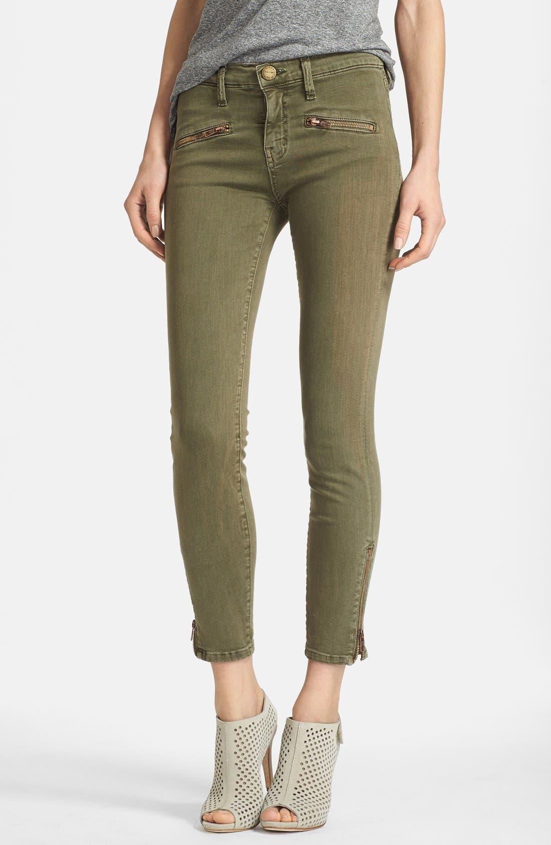 Main Image - Current/Elliott 'The Soho Zip Stiletto' Skinny Jeans (Army)