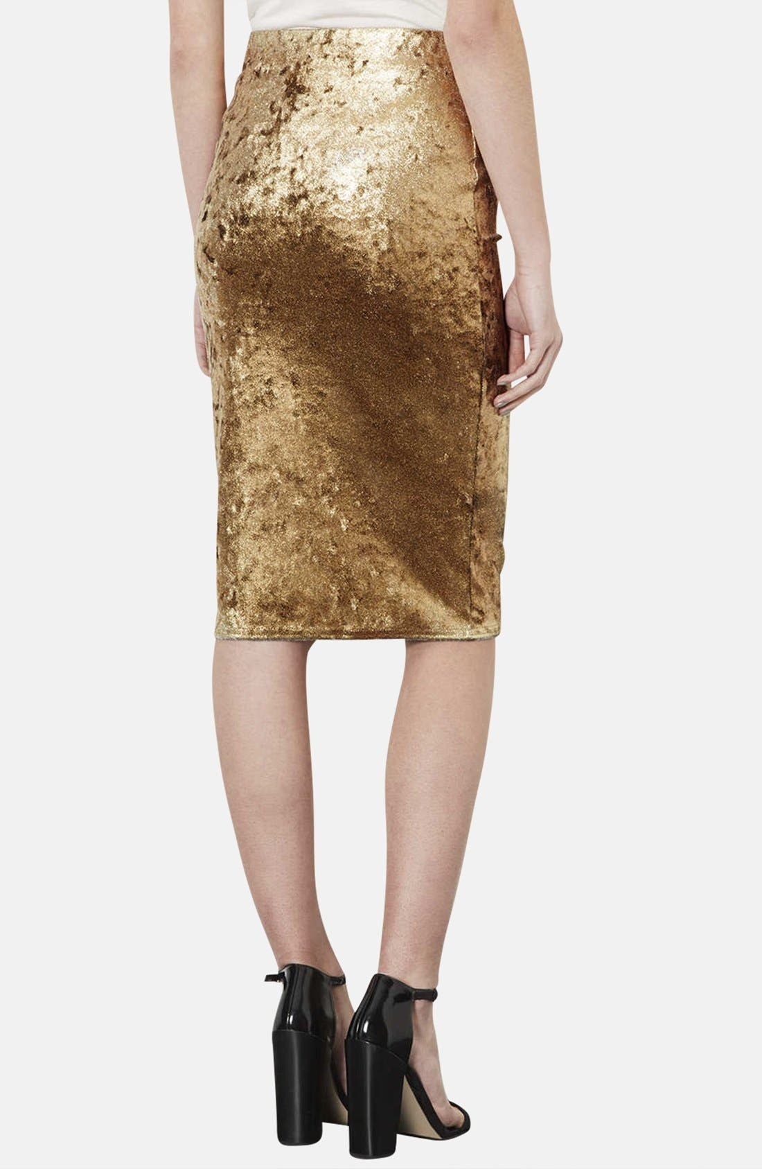 Alternate Image 2  - Topshop Metallic Foil Velvet Tube Skirt