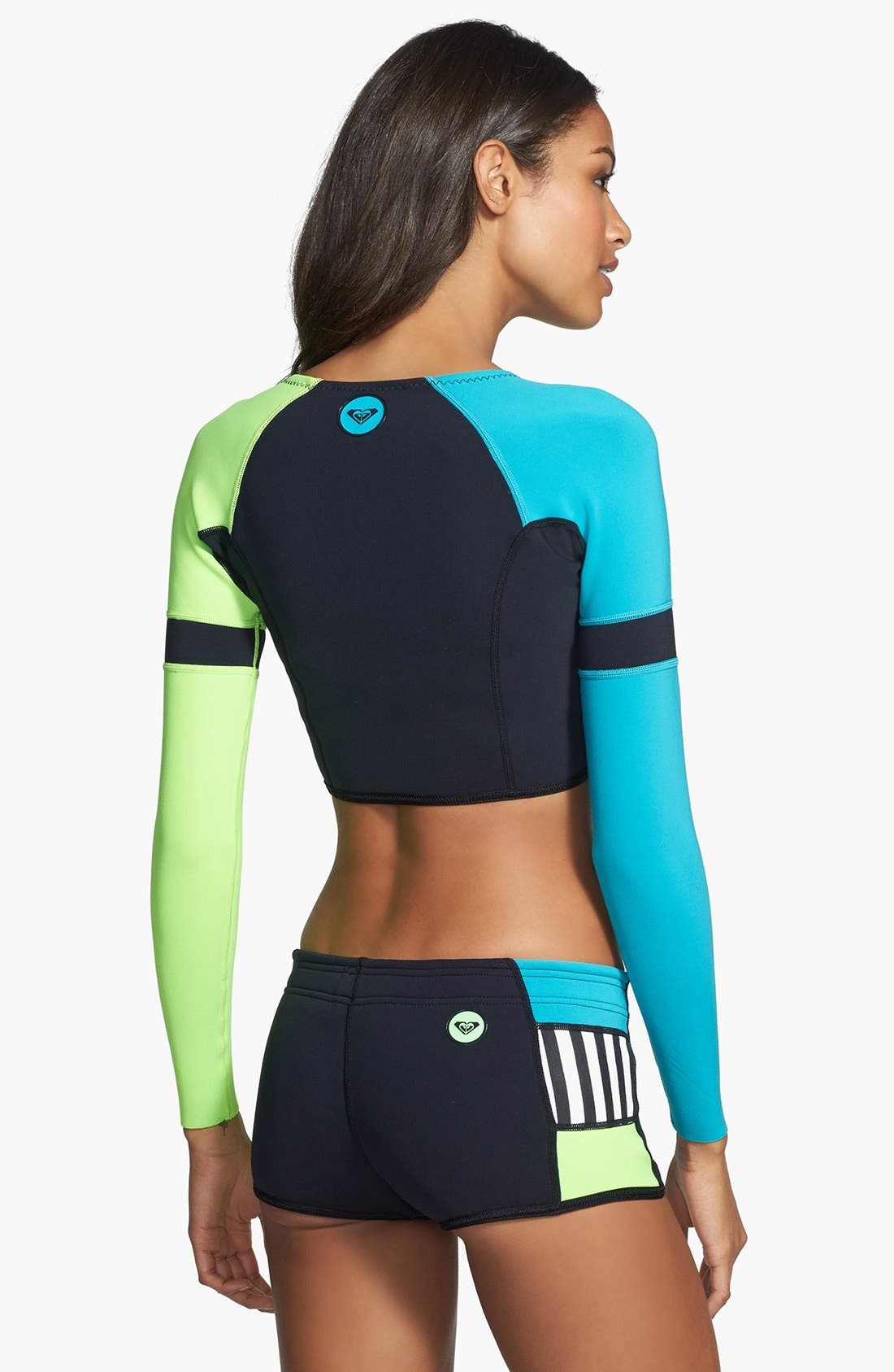 Alternate Image 2  - Roxy 'Shorebreak' Crop Rashguard (UPF 50+)