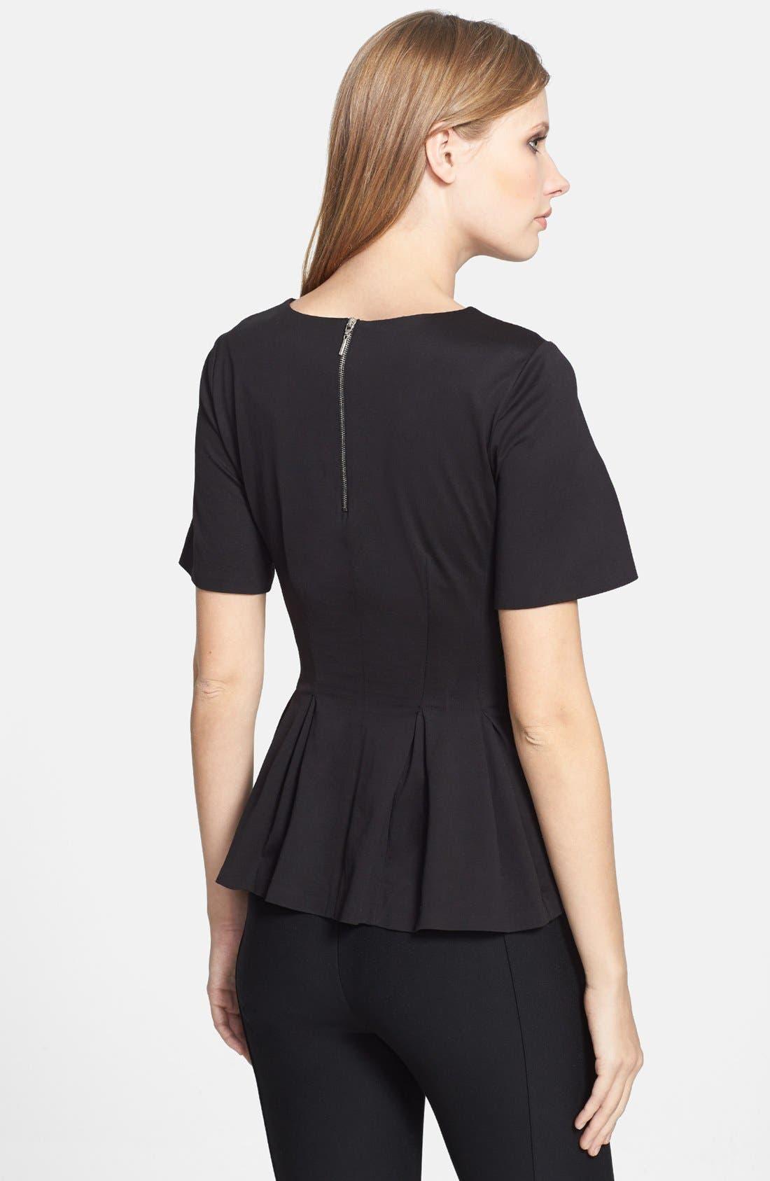 Alternate Image 2  - Rebecca Taylor Short Sleeve Peplum Jersey Top