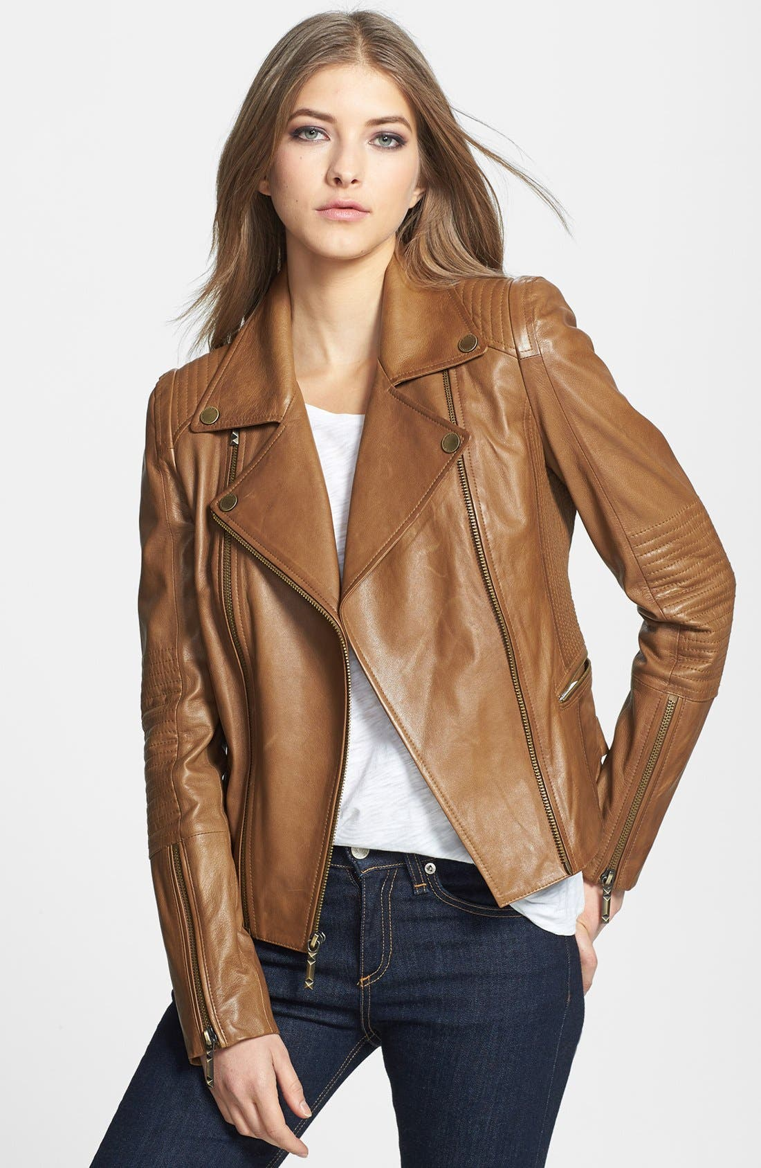 Alternate Image 1 Selected - BCBGMAXAZRIA 'Tara' Leather Moto Jacket