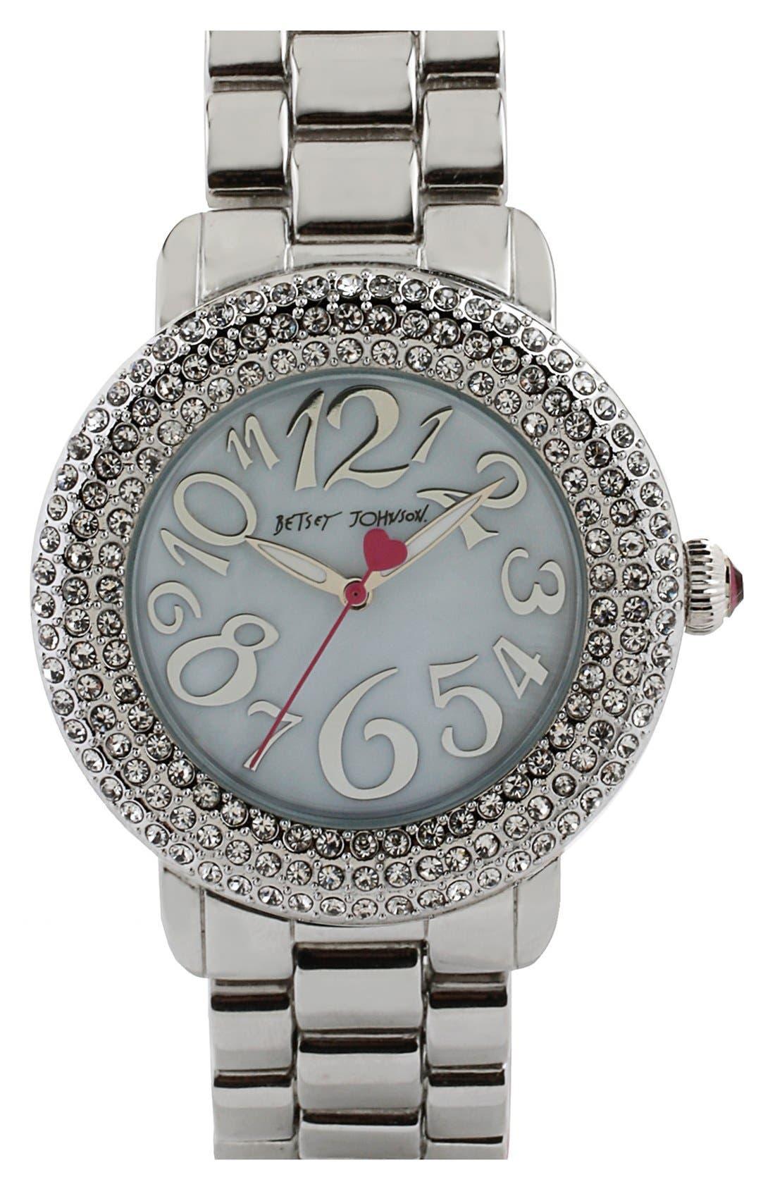 Alternate Image 1 Selected - Betsey Johnson Pavé Bezel Bracelet Watch, 42mm