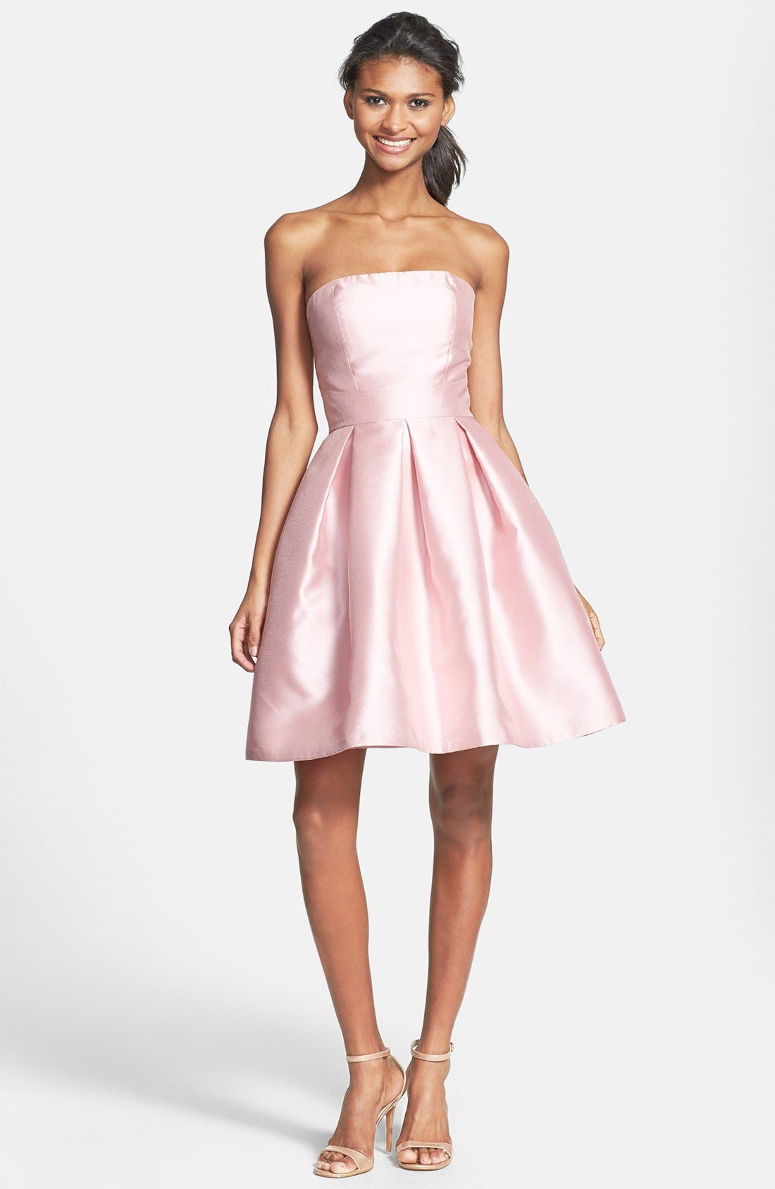 Alternate Image 2  - ML Monique Lhuillier Bridesmaids Strapless Pleated Fit & Flare Dress