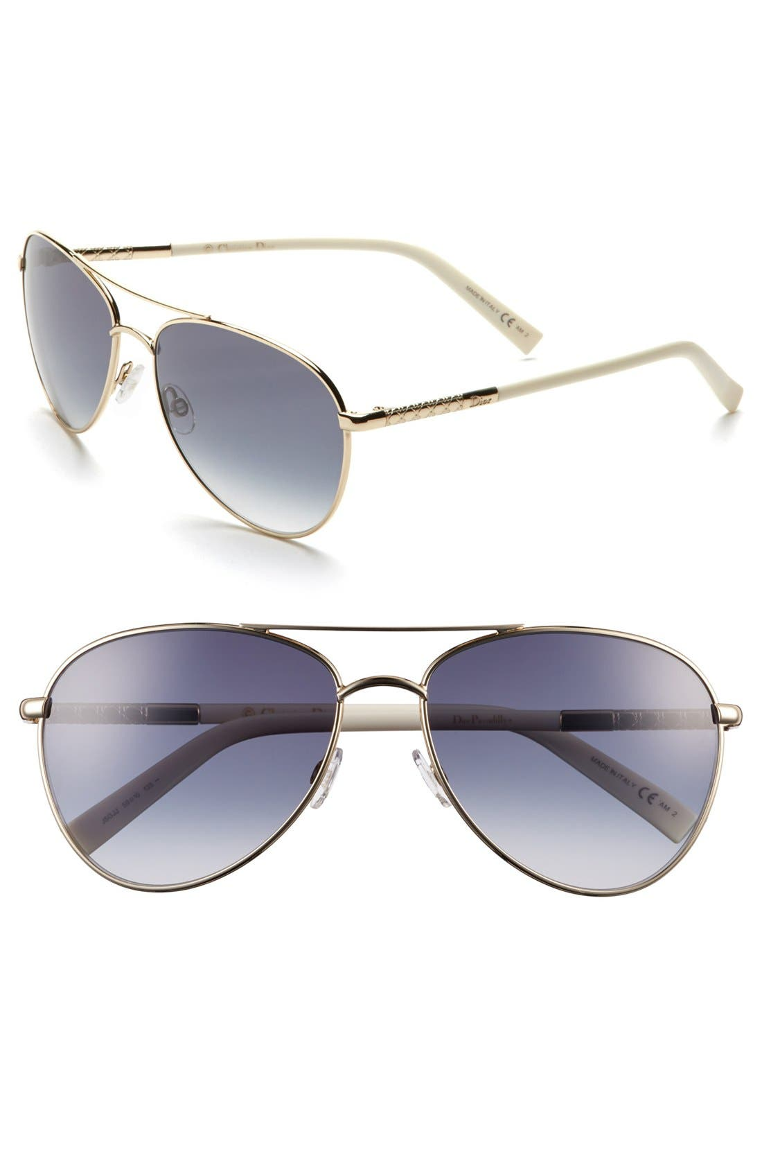 Main Image - Dior 'Picadilly 2' 59mm Metal Aviator Sunglasses
