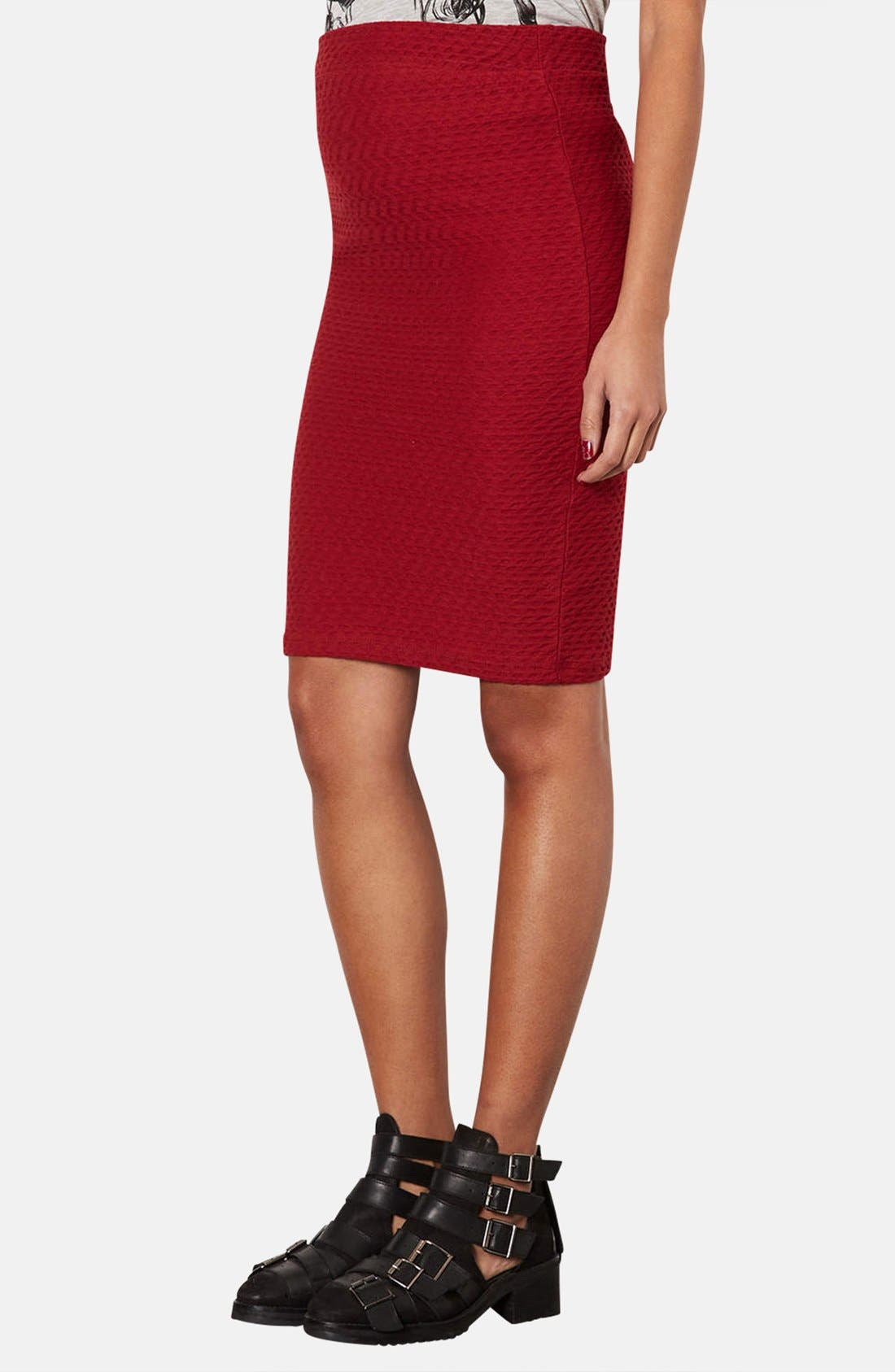 Alternate Image 1 Selected - Topshop Chevron Texture Maternity Tube Skirt