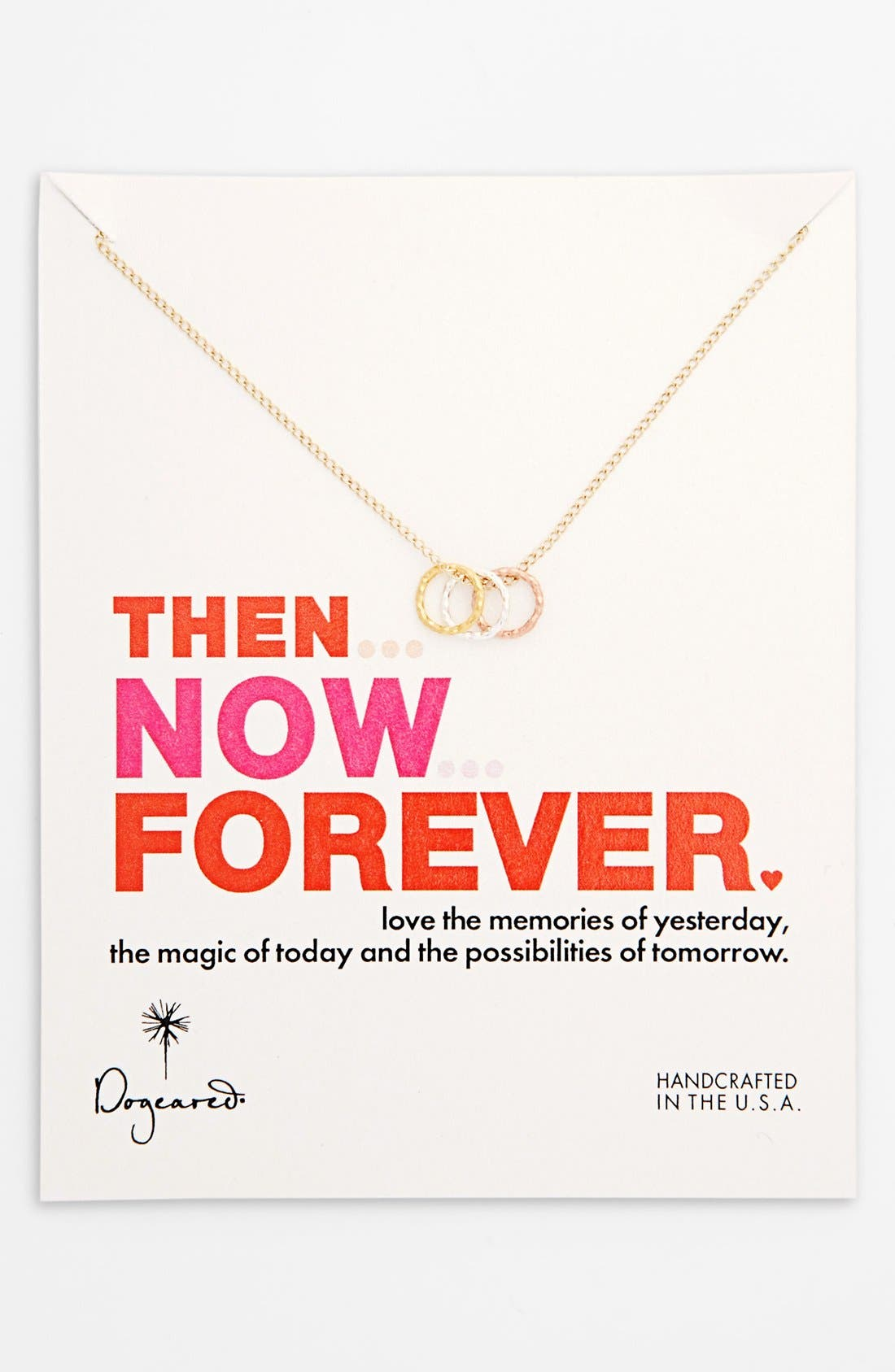 Main Image - Dogeared 'Then, Now, Forever' Boxed 3-Ring Pendant Necklace