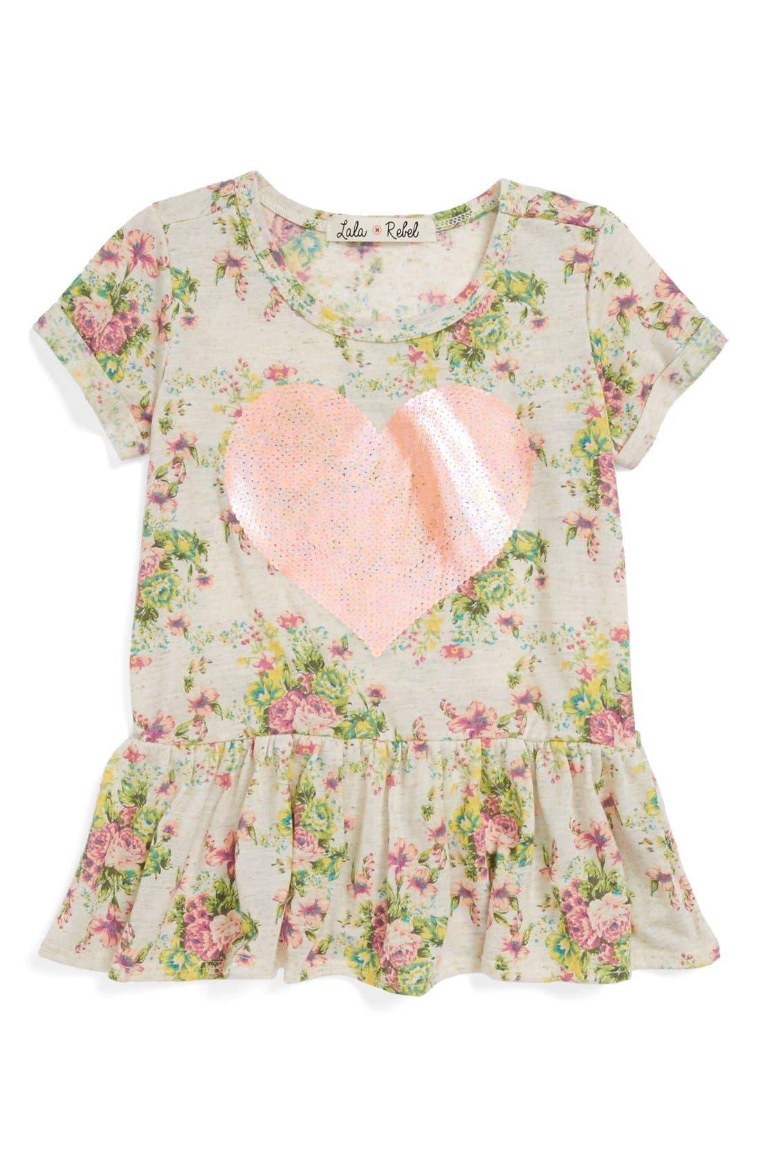 Alternate Image 1 Selected - Lala Rebel Sequin Print Peplum Top (Toddler Girls)