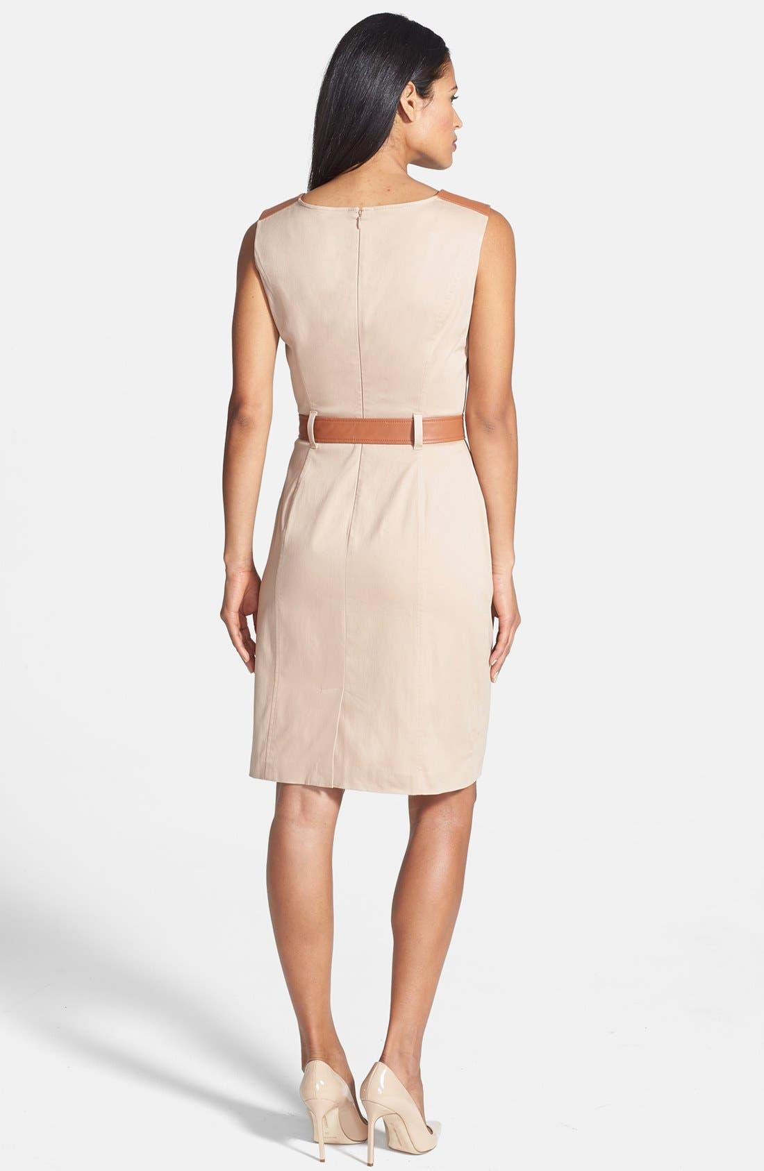 Alternate Image 2  - Ellen Tracy Faux Leather Trim Sleeveless Sheath Dress