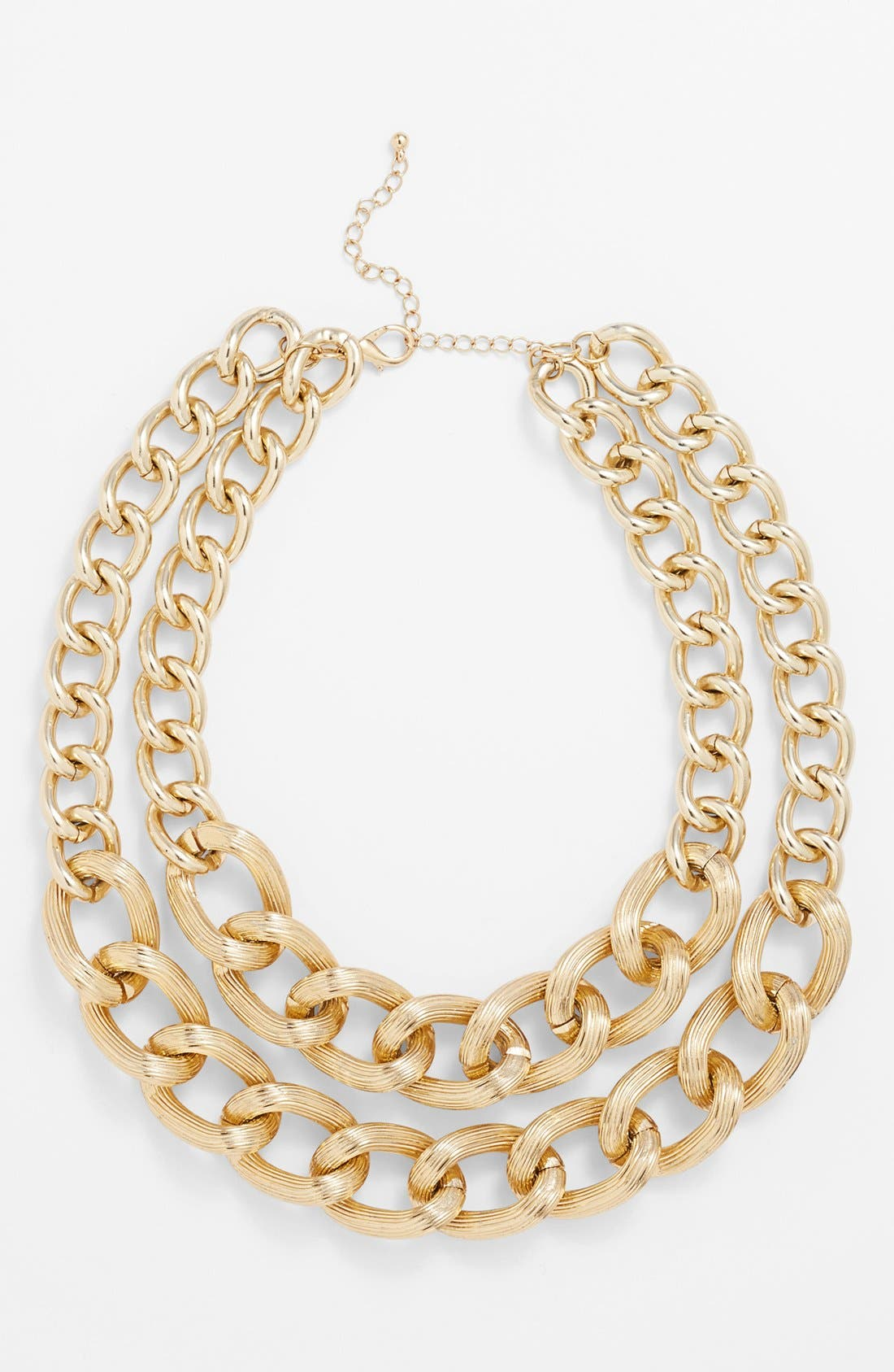 Main Image - Stephan & Co. Textured Double Layer Chain Necklace (Juniors)