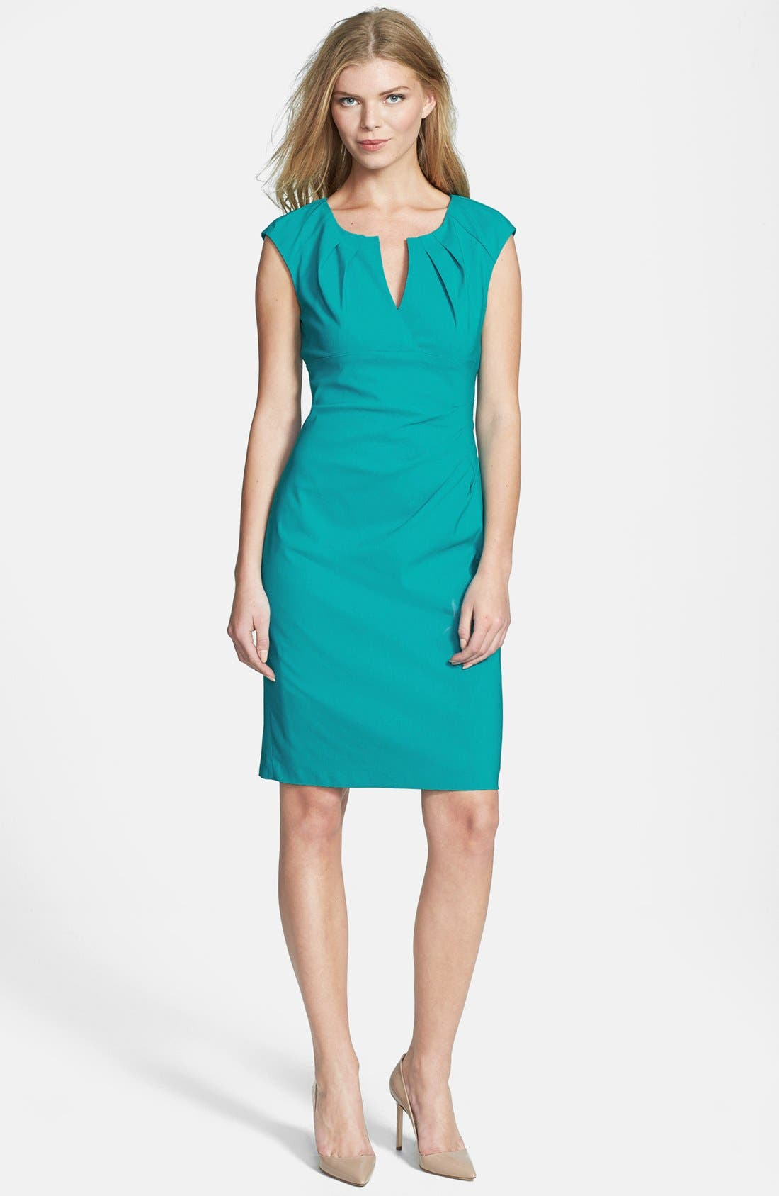 Alternate Image 2  - Adrianna Papell Side Pleat Sheath Dress (Regular & Petite)