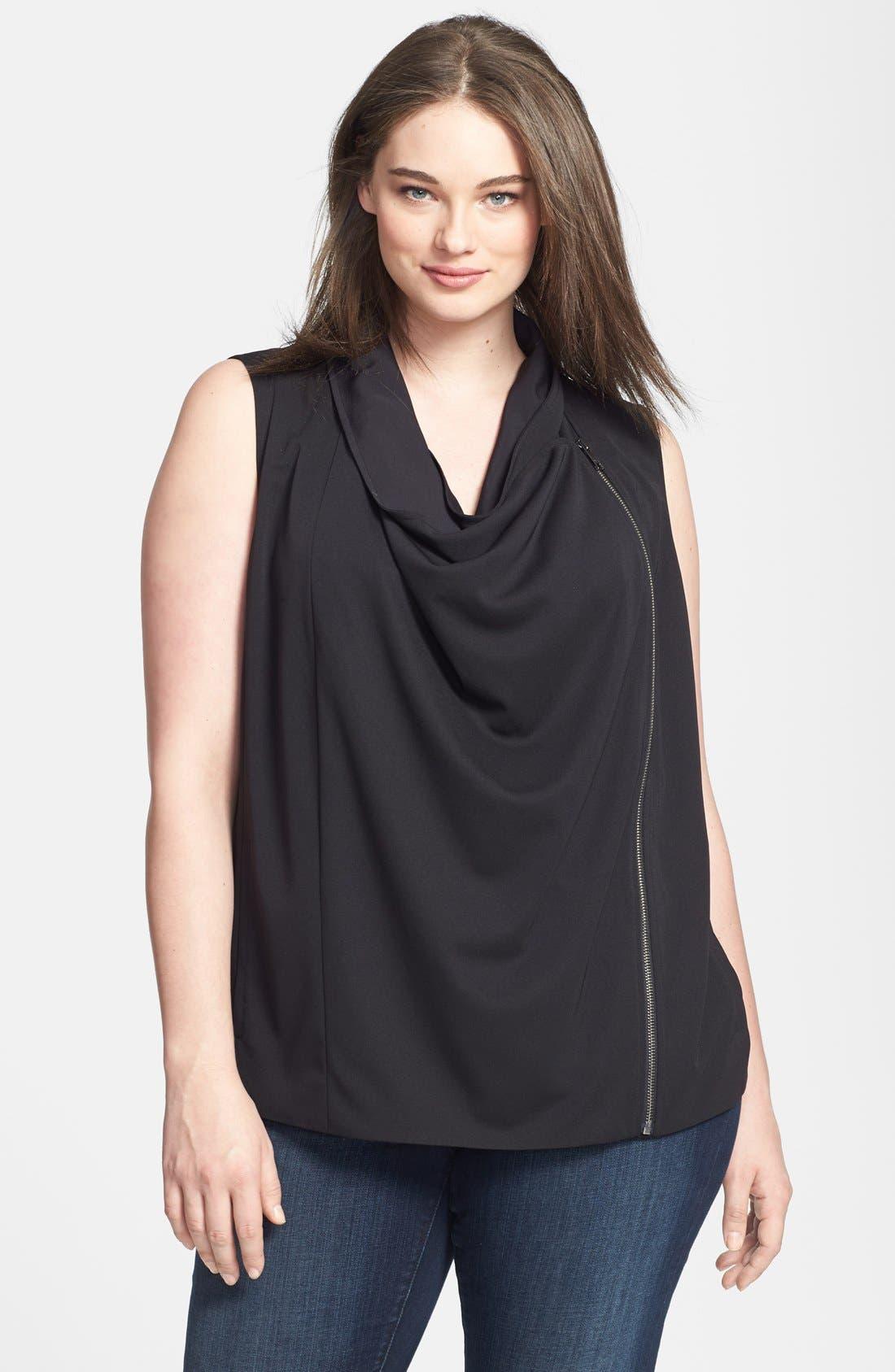 Main Image - DKNYC Draped Asymmetrical Zip Sleeveless Top (Plus Size)