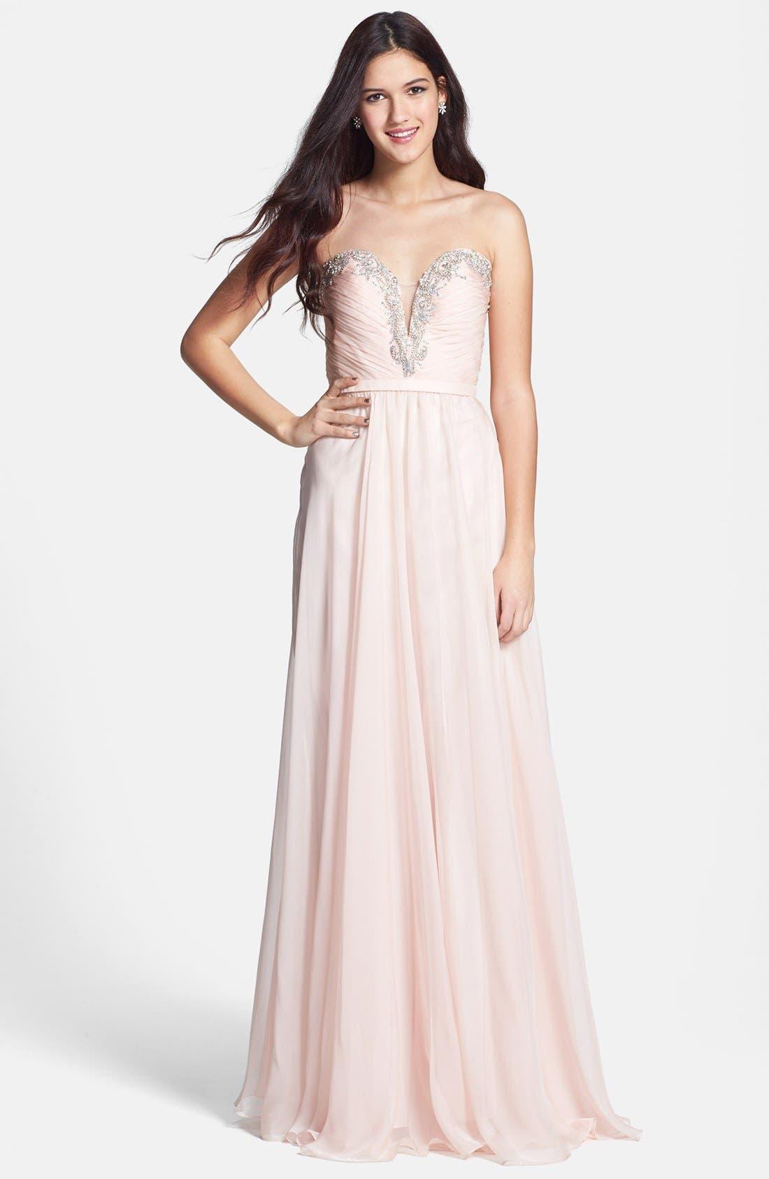 Main Image - La Femme Fashions Beaded Bodice Chiffon Gown