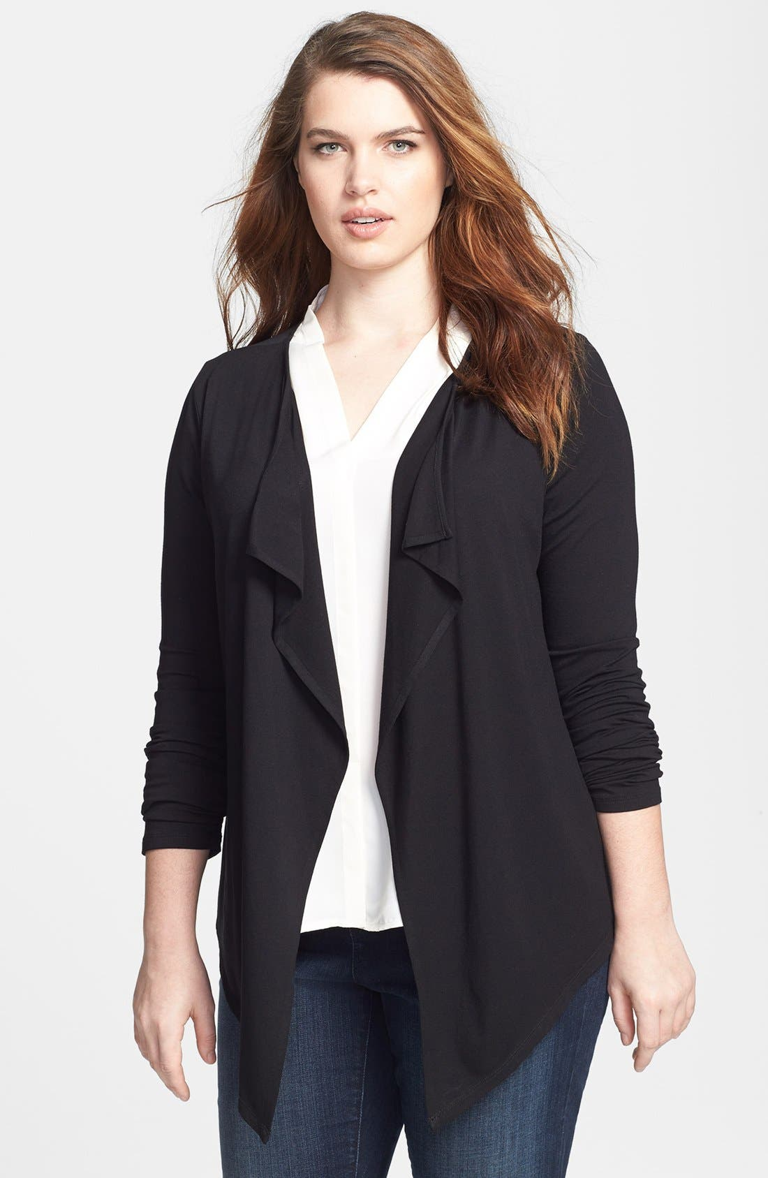 Main Image - Vince Camuto Sheer Back Drape Front Cardigan (Plus Size)