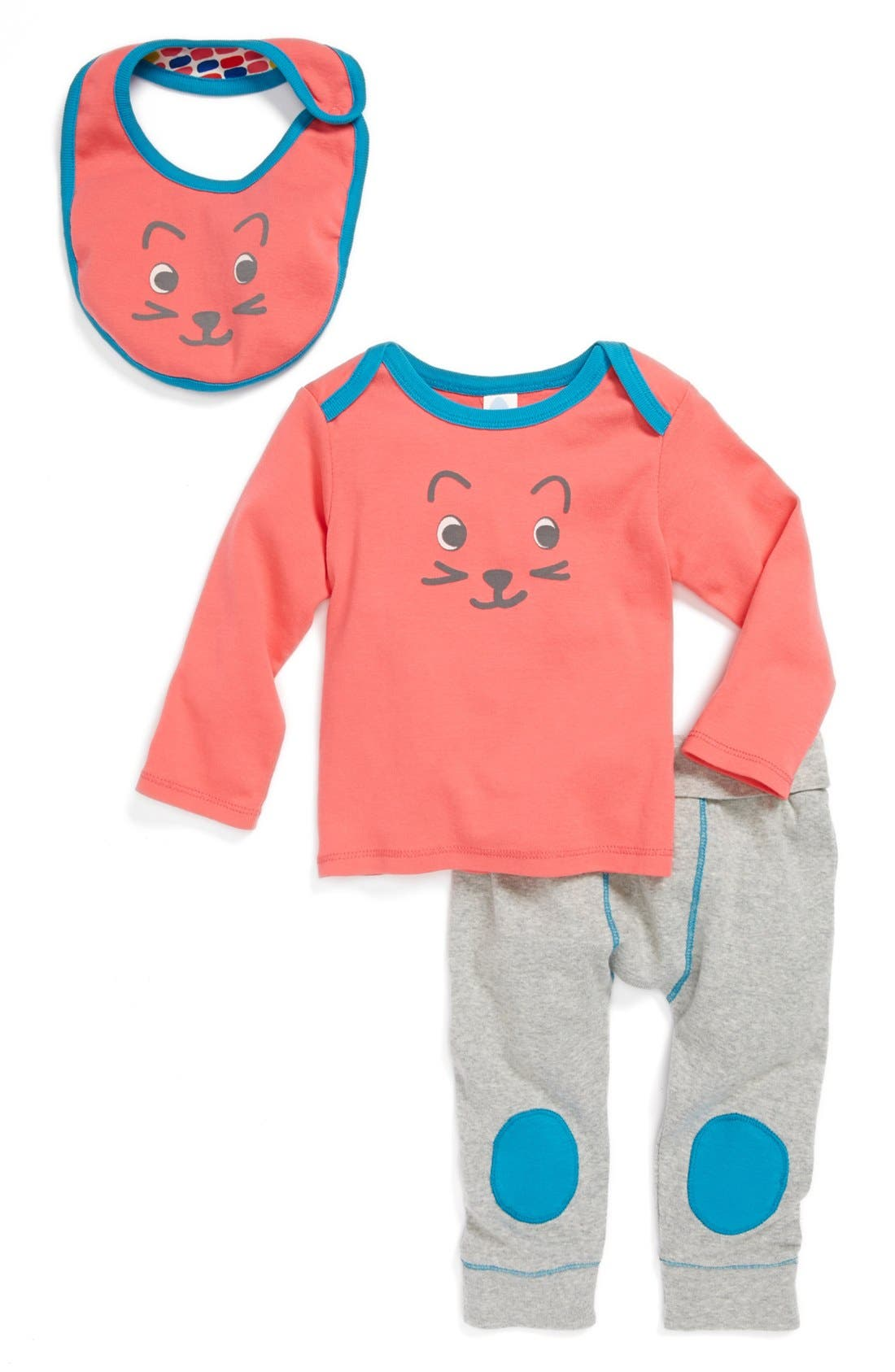 Main Image - Stem Baby Top, Bib & Pants (Baby Girls)