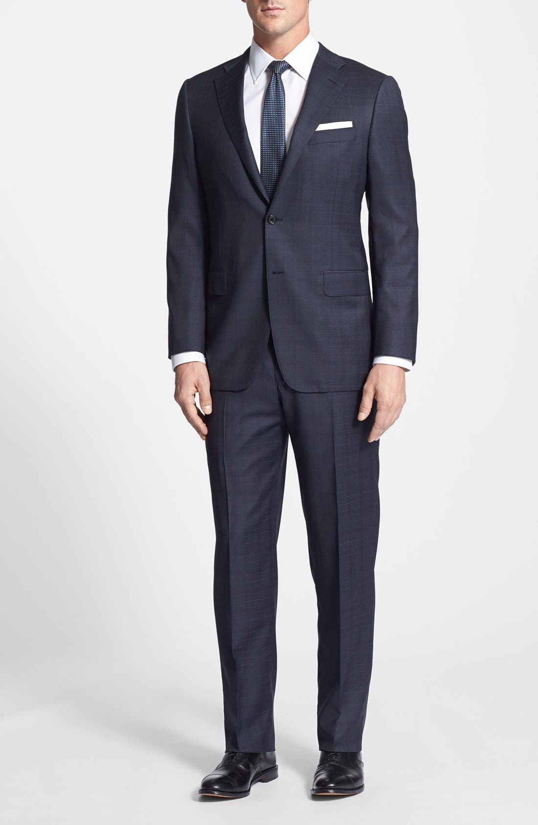 Main Image - Hickey Freeman Classic Fit Plaid Suit
