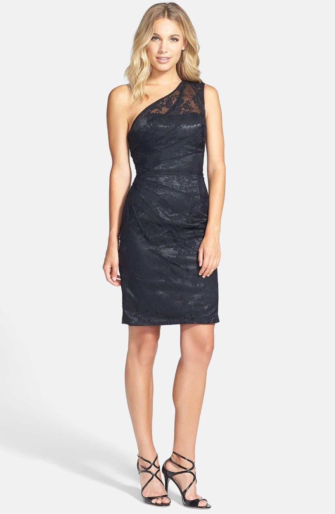 Alternate Image 3  - ML Monique Lhuillier Bridesmaids Pleated One-Shoulder Lace Dress