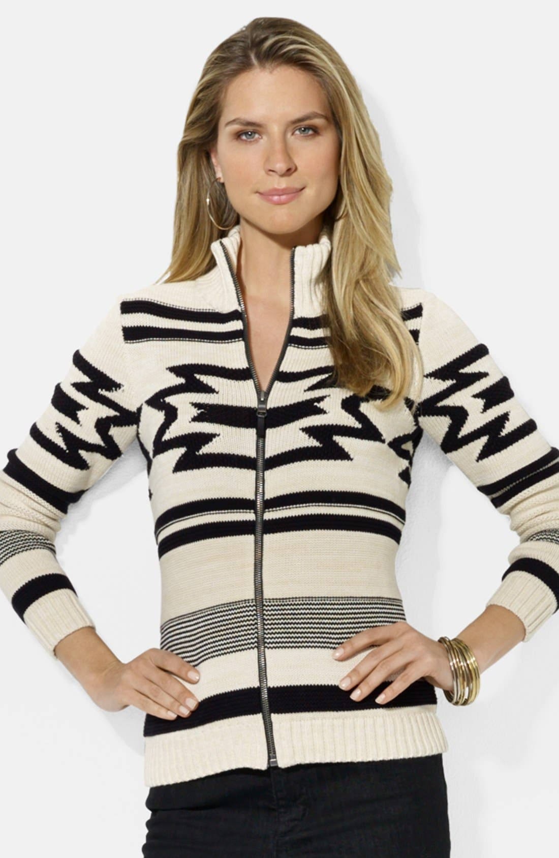 Alternate Image 1 Selected - Lauren Ralph Lauren Front Zip Intarsia Cardigan