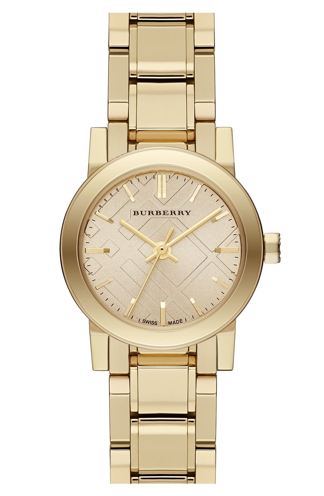 Alternate Image 1 Selected - Burberry Check Stamped Round Bracelet Watch, 26mm