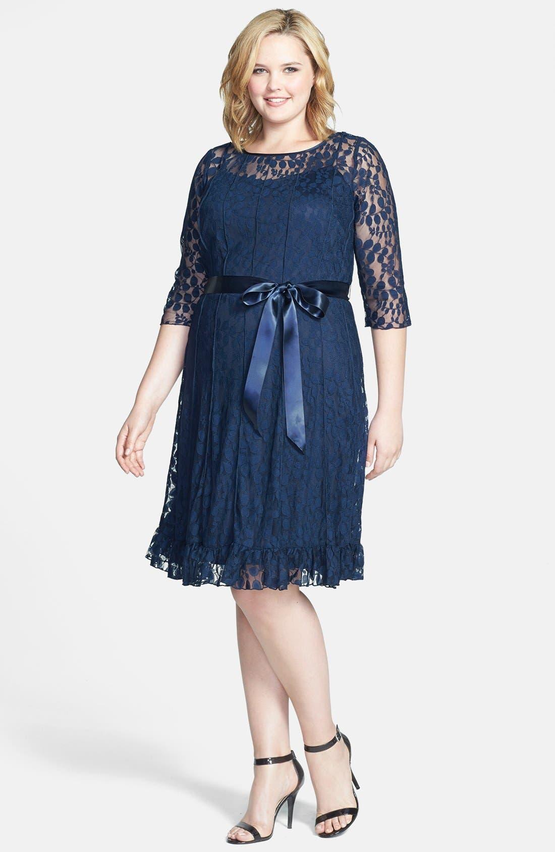 Alternate Image 1 Selected - Jessica Howard Lace Dress (Plus Size)