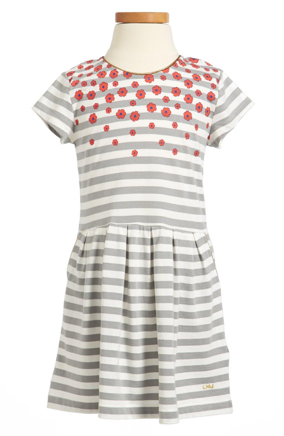 Main Image - LITTLE MARC JACOBS Stripe Floral Jersey Dress (Little Girls & Big Girls)