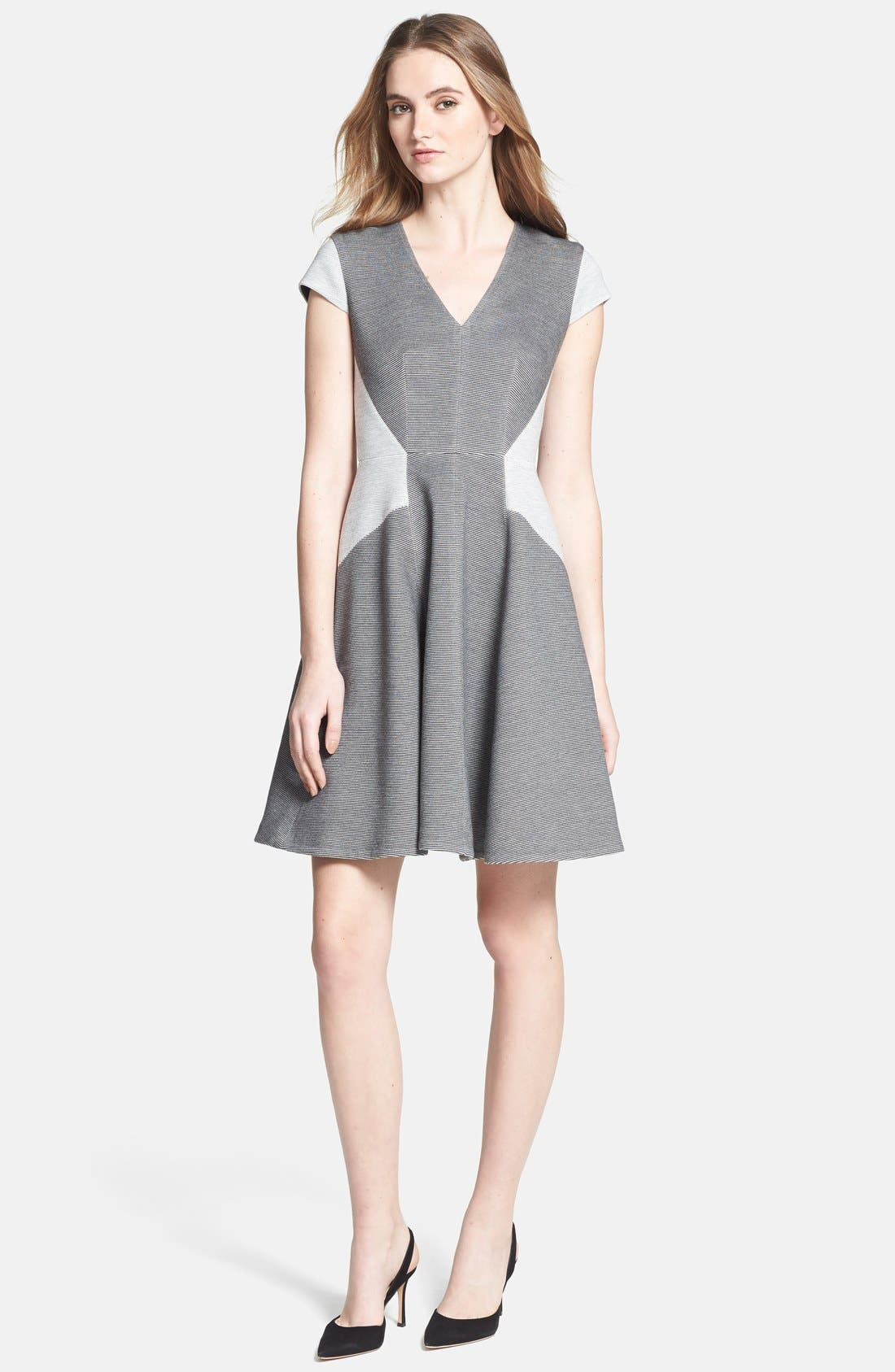 Alternate Image 1 Selected - Rebecca Taylor Ponte Fit & Flare Dress