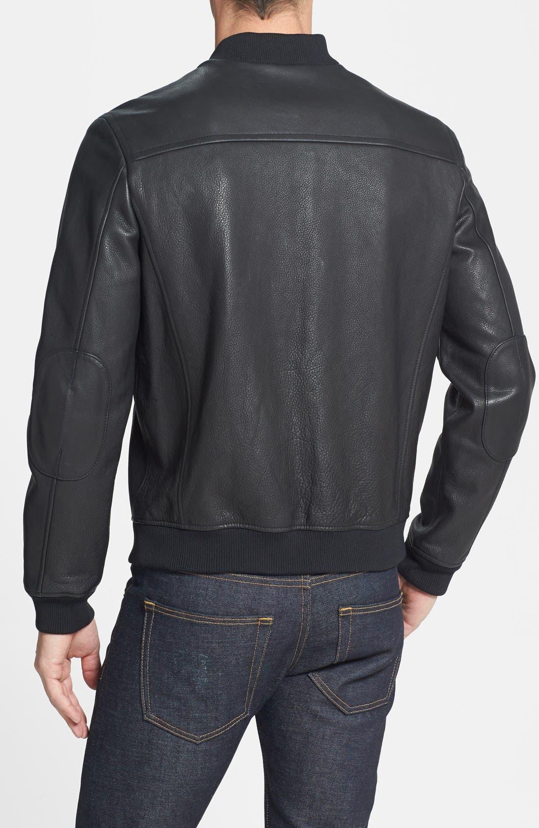 Alternate Image 2  - Cole Haan Leather Bomber Jacket