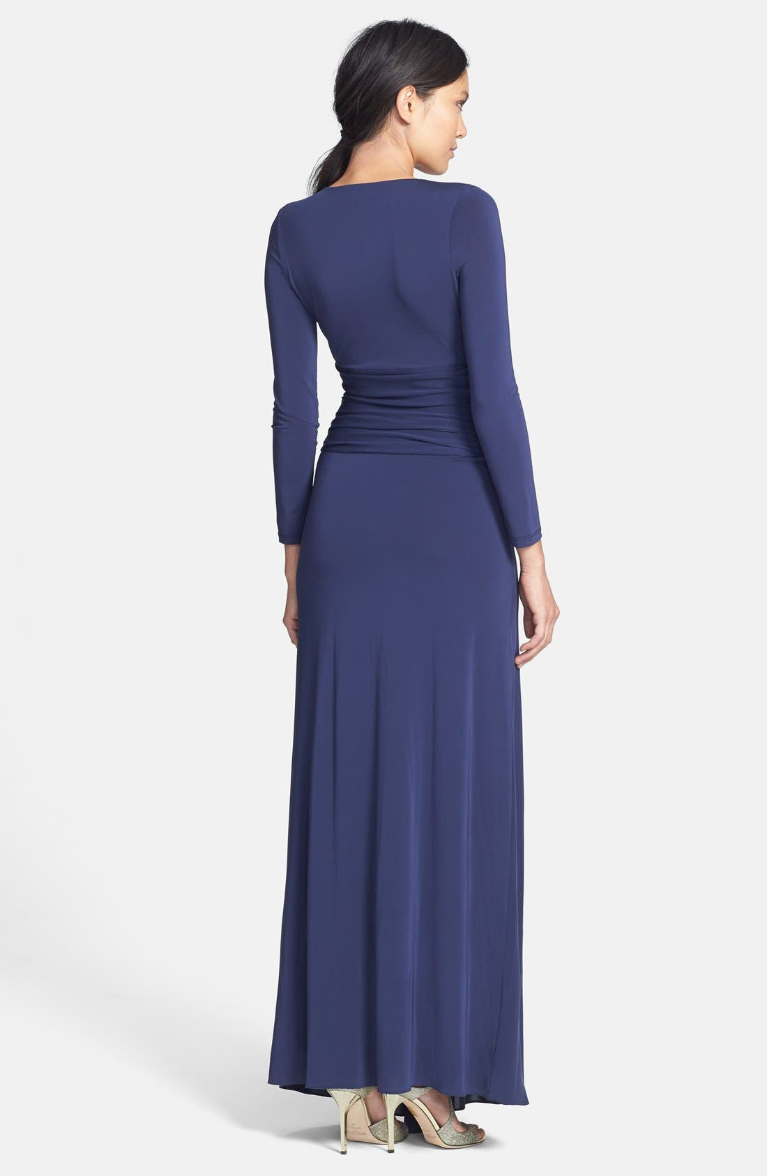 Alternate Image 2  - Halston Heritage Knotted V-Neck Jersey Gown