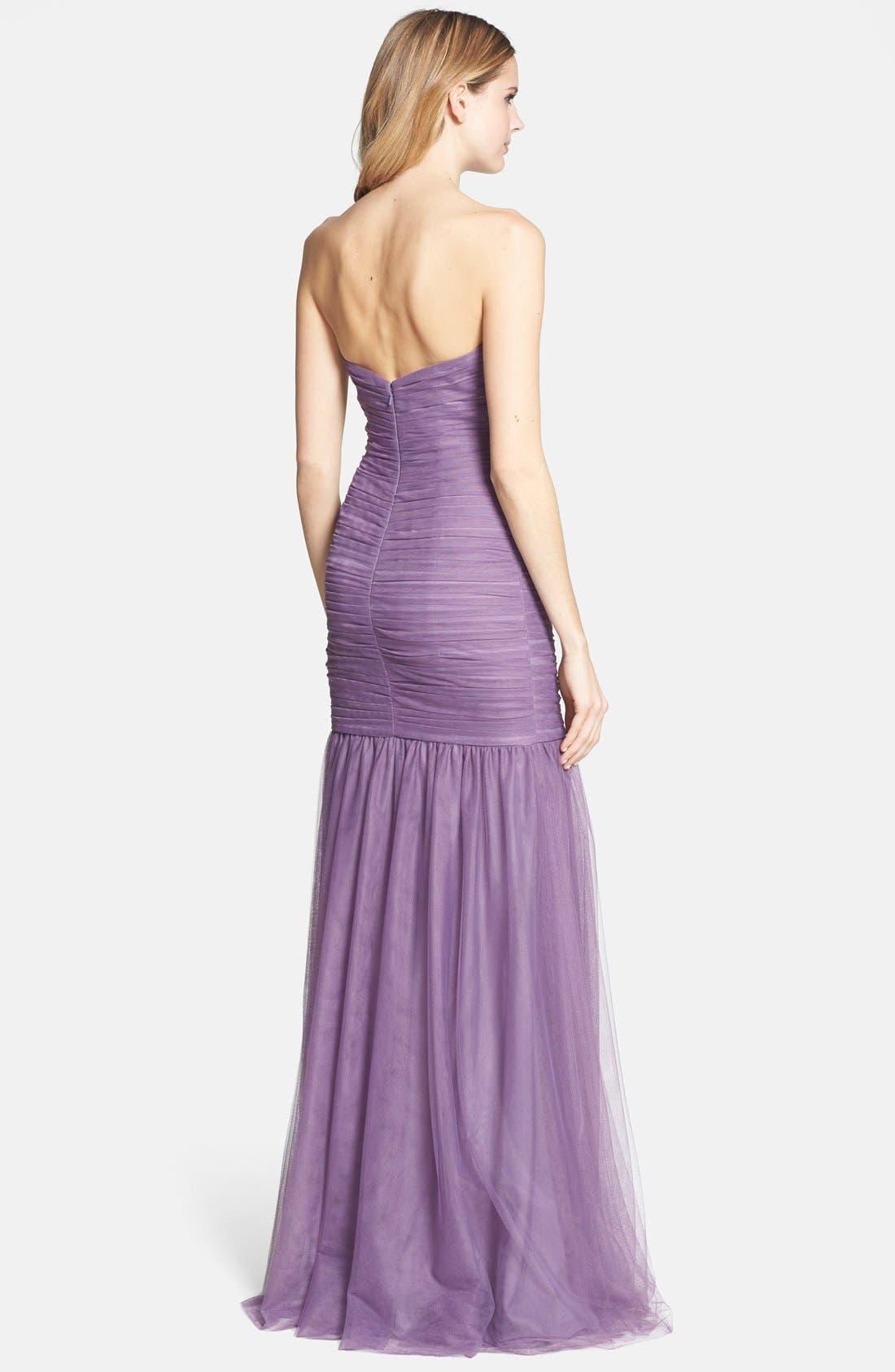 Alternate Image 2  - Monique Lhuillier Bridesmaids Shirred Tulle Gown