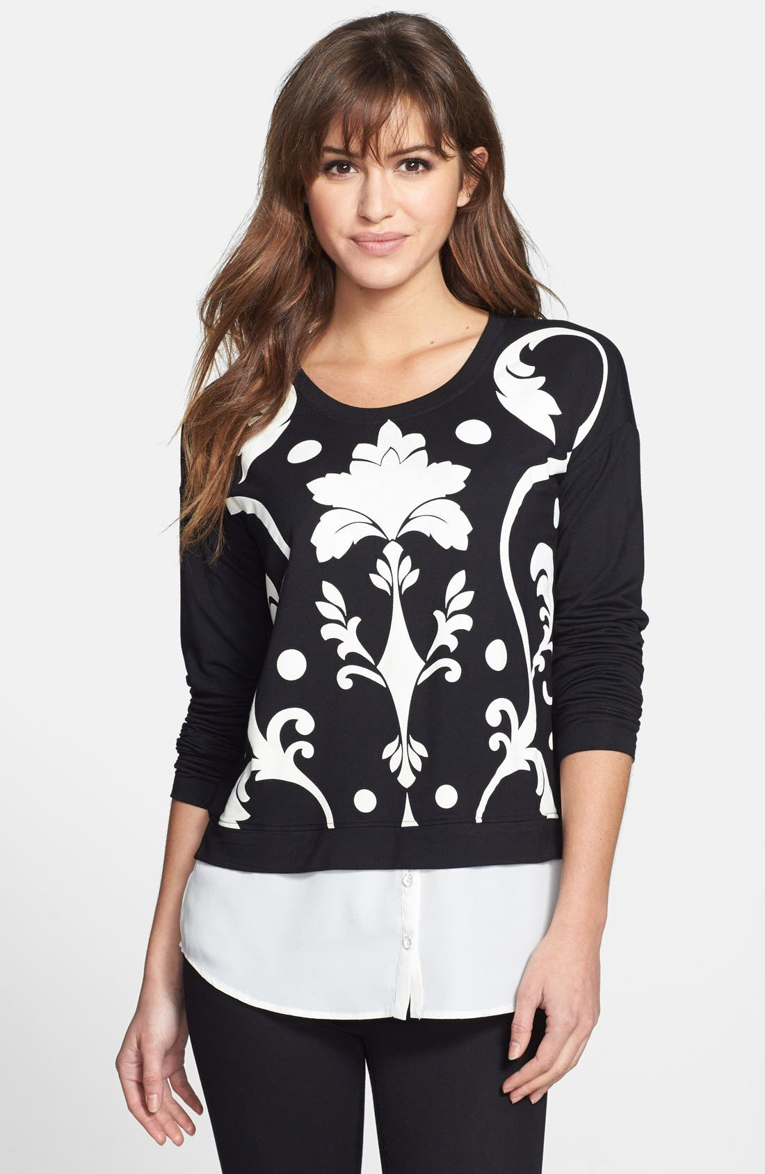 Alternate Image 1 Selected - kensie Print French Terry Sweater