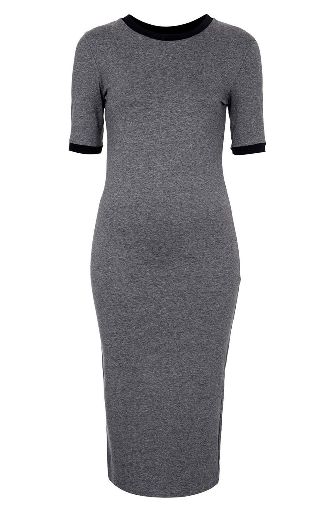 Alternate Image 3  - Topshop Rib Knit Trim Midi Dress