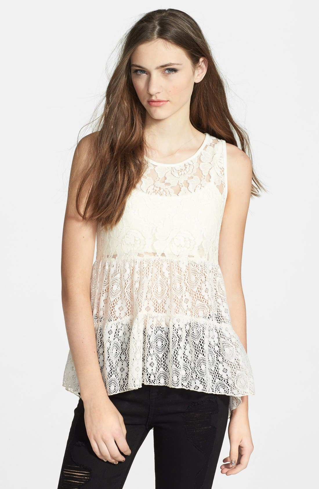 Alternate Image 1 Selected - Lily White Tiered Lace Top (Juniors)