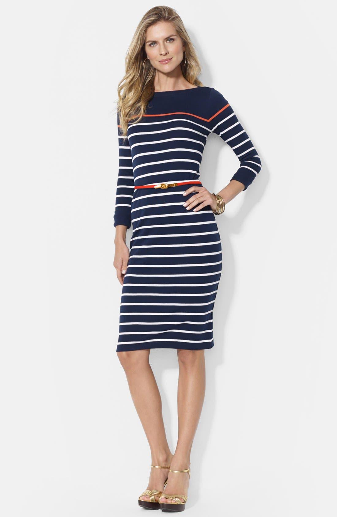 Main Image - Lauren Ralph Lauren Stripe Boat Neck Cotton Dress