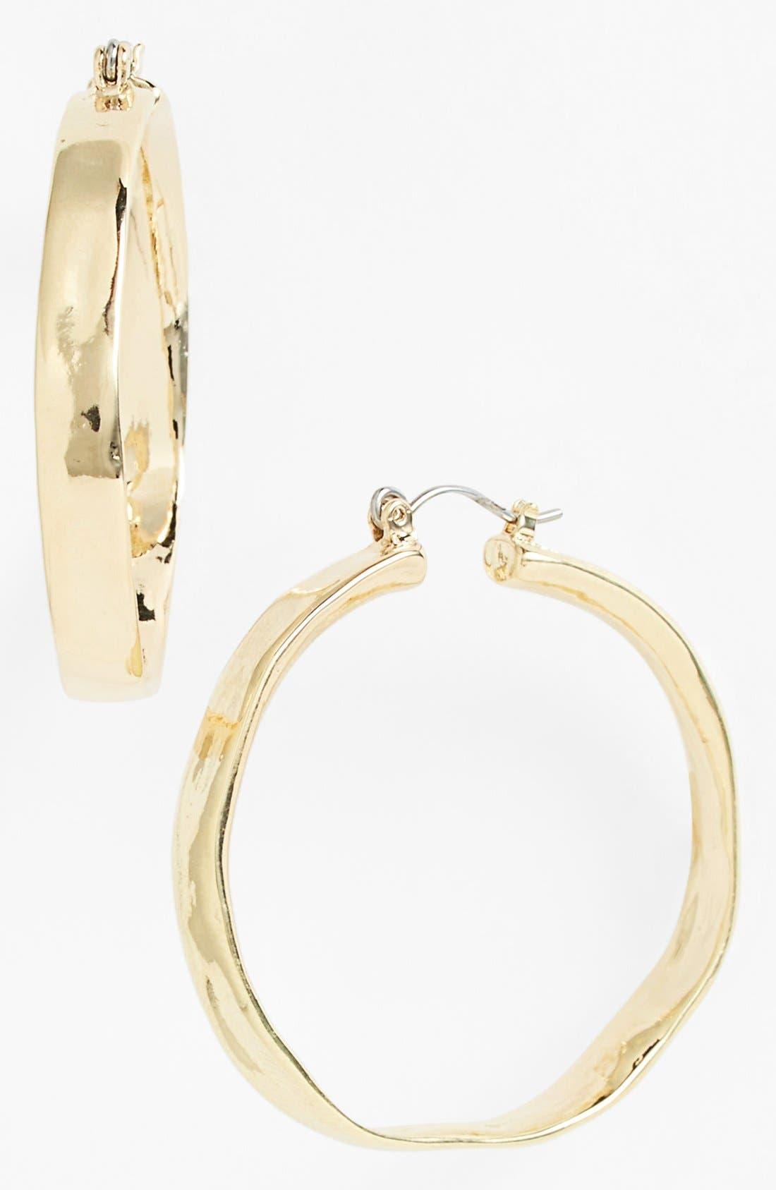 Alternate Image 1 Selected - Nordstrom 'Gold Water' Hammered Hoop Earrings
