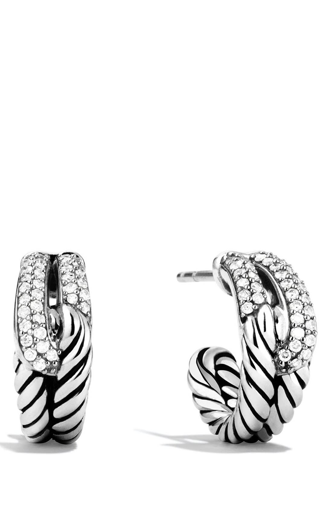 David Yurman 'Labyrinth' Single Loop Earrings with Diamonds