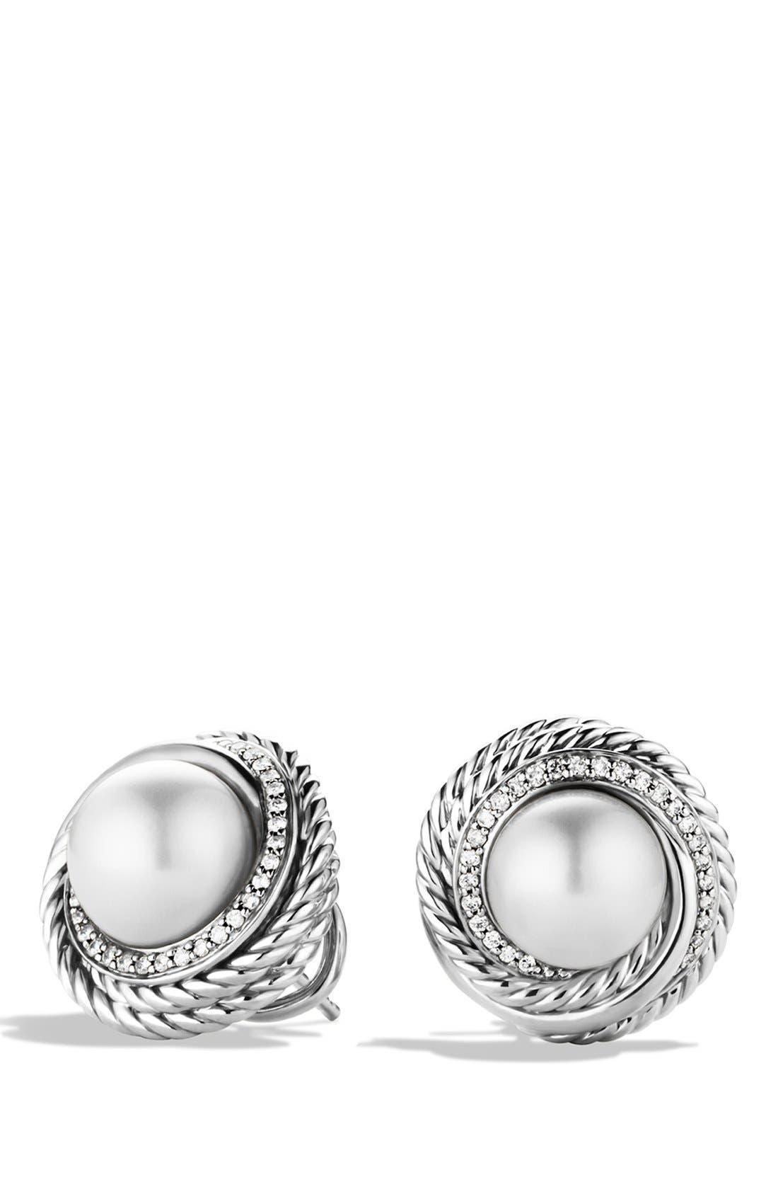 Alternate Image 1 Selected - David Yurman 'Pearl Crossover' Earrings with Diamonds