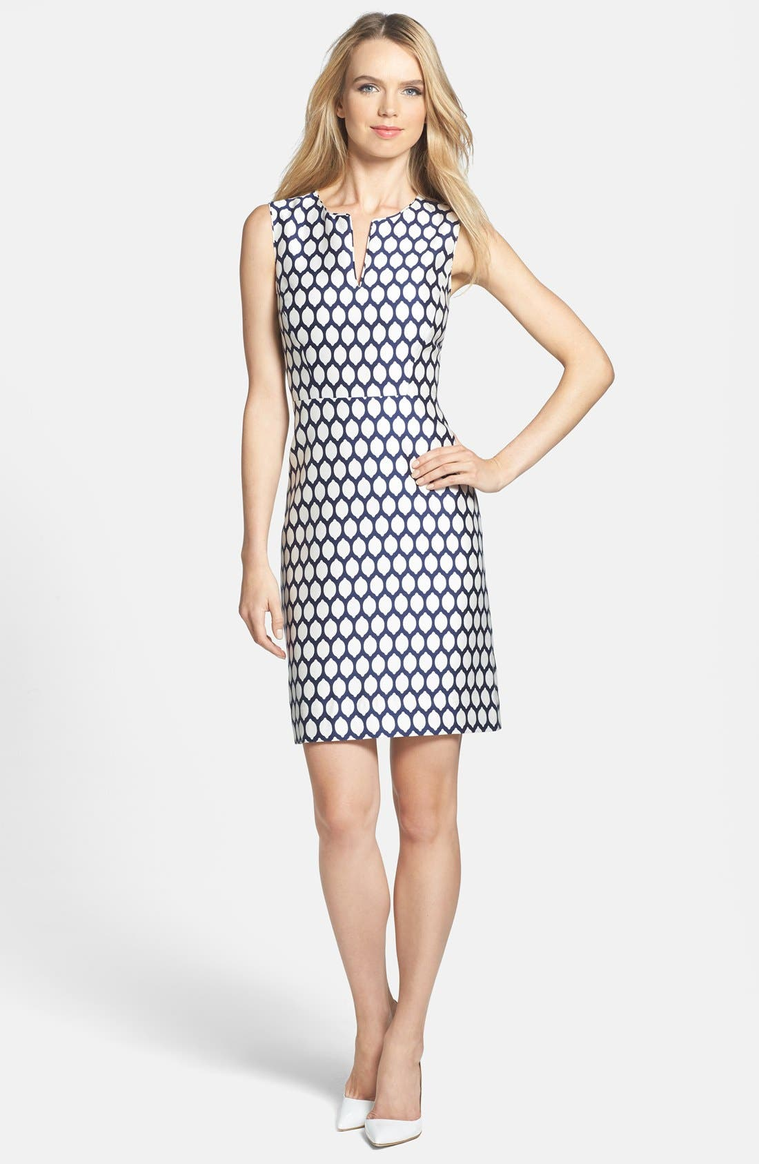 Main Image - kate spade new york 'emrick' print cotton blend sheath dress
