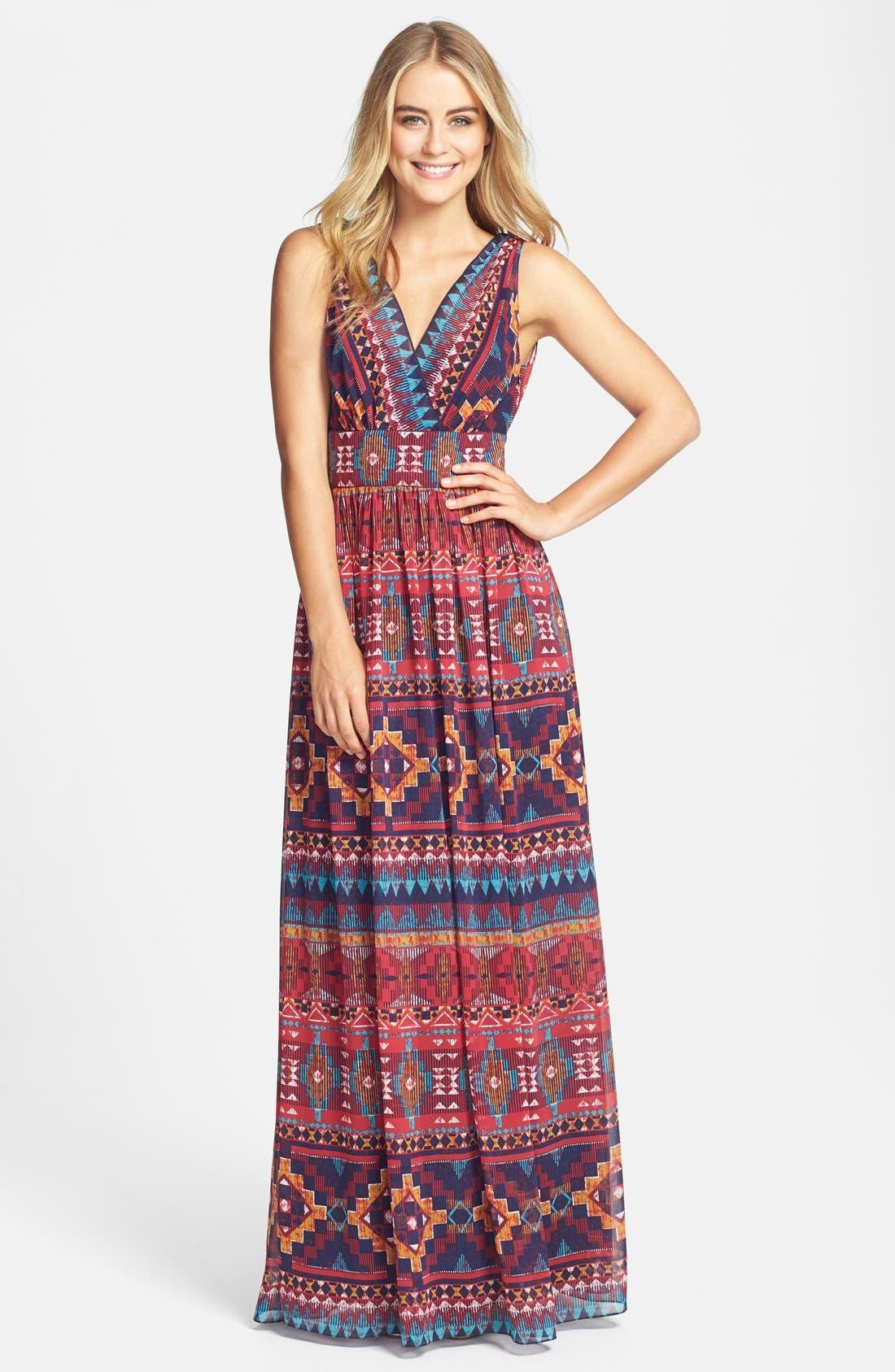 Alternate Image 1 Selected - Maggy London Print Chiffon Maxi Dress