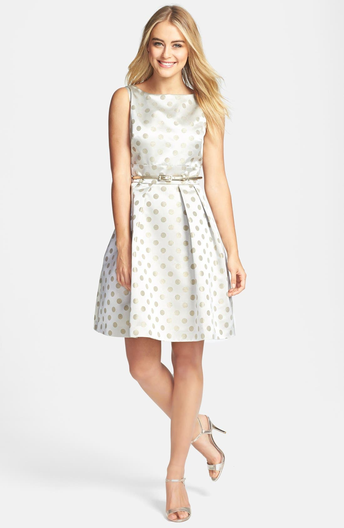 Alternate Image 2  - Eliza J Polka Dot Jacquard Fit & Flare Dress