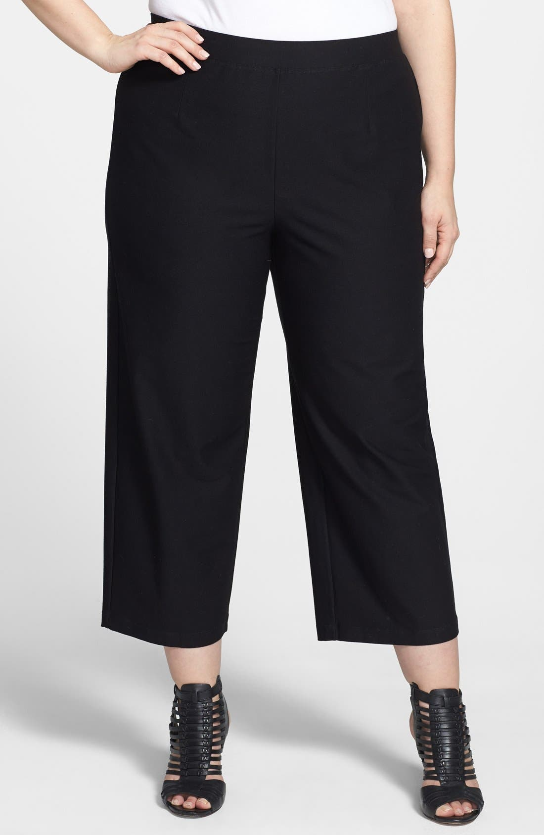 Alternate Image 1 Selected - Eileen Fisher Cropped Wide Leg Pants (Plus Size)