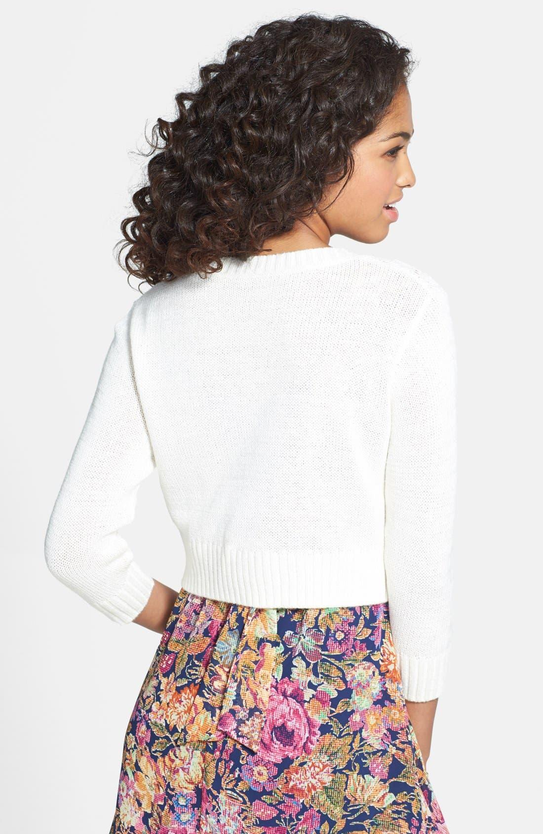 Alternate Image 2  - Frenchi® Pointelle Knit Crop Cardigan (Juniors)