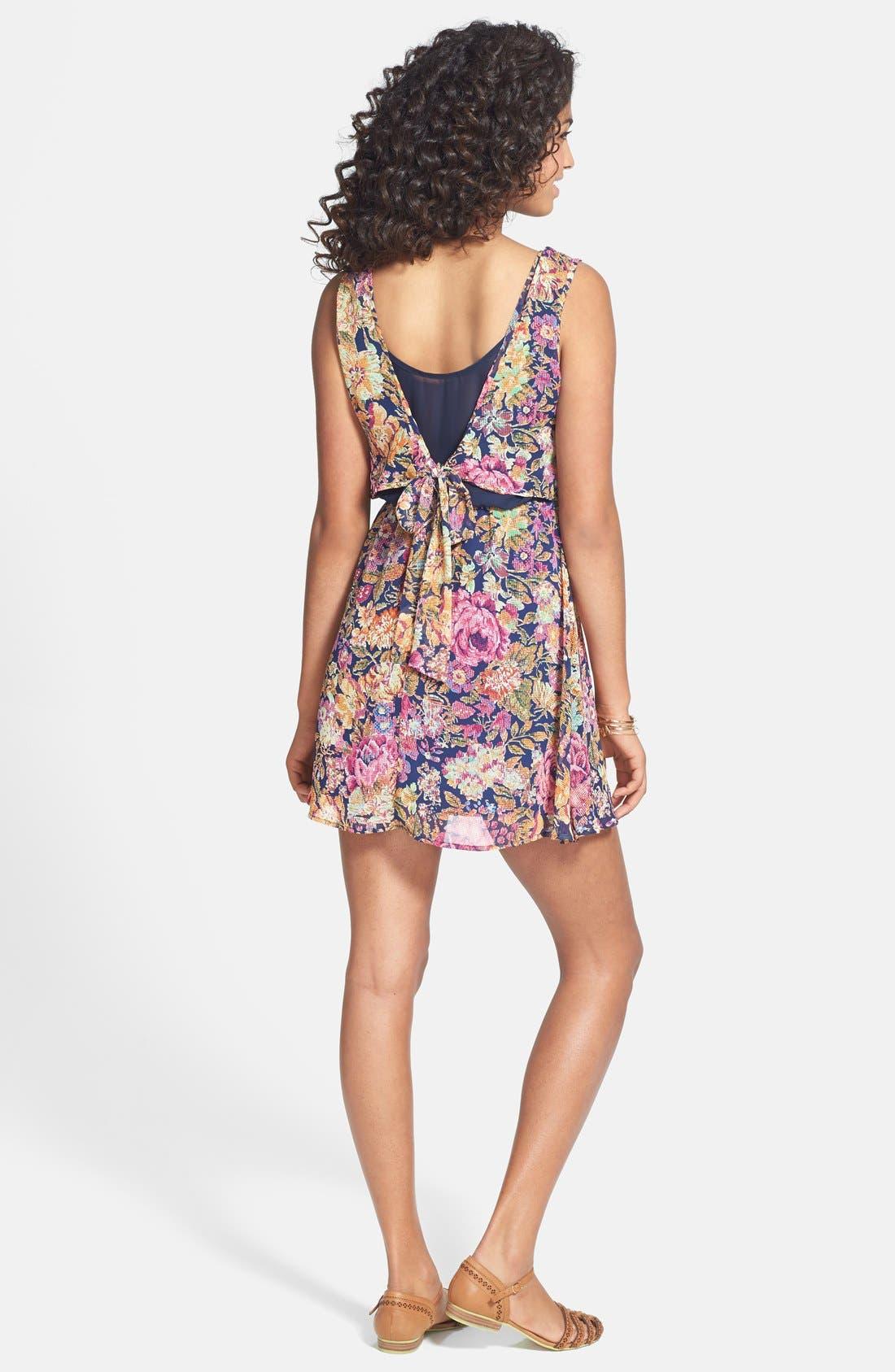 Alternate Image 2  - dee elle Print Tie Back Chiffon Dress (Juniors)