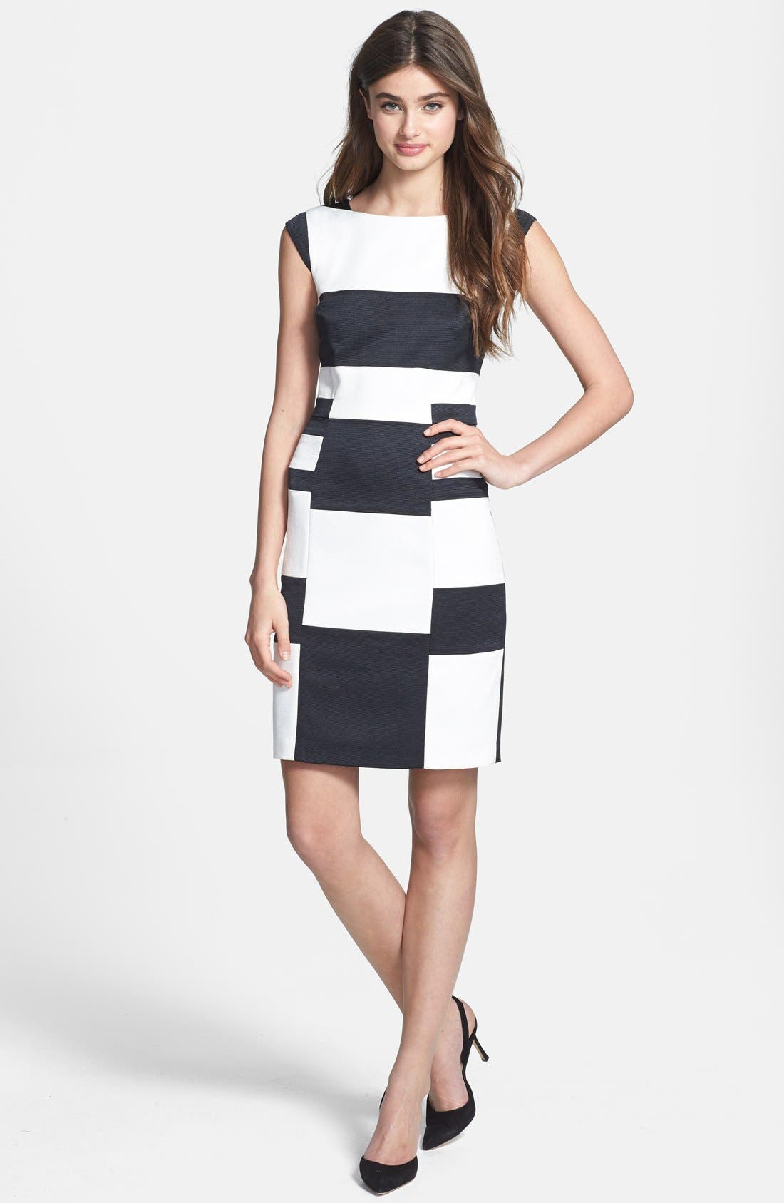 Alternate Image 2  - Ivy & Blu Colorblock Cap Sleeve Sheath Dress