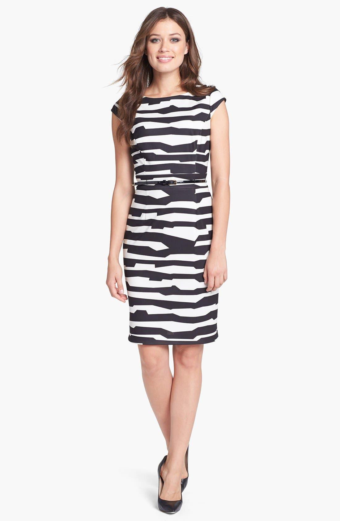 Main Image - Tahari Belted Print Scuba Sheath Dress (Petite)