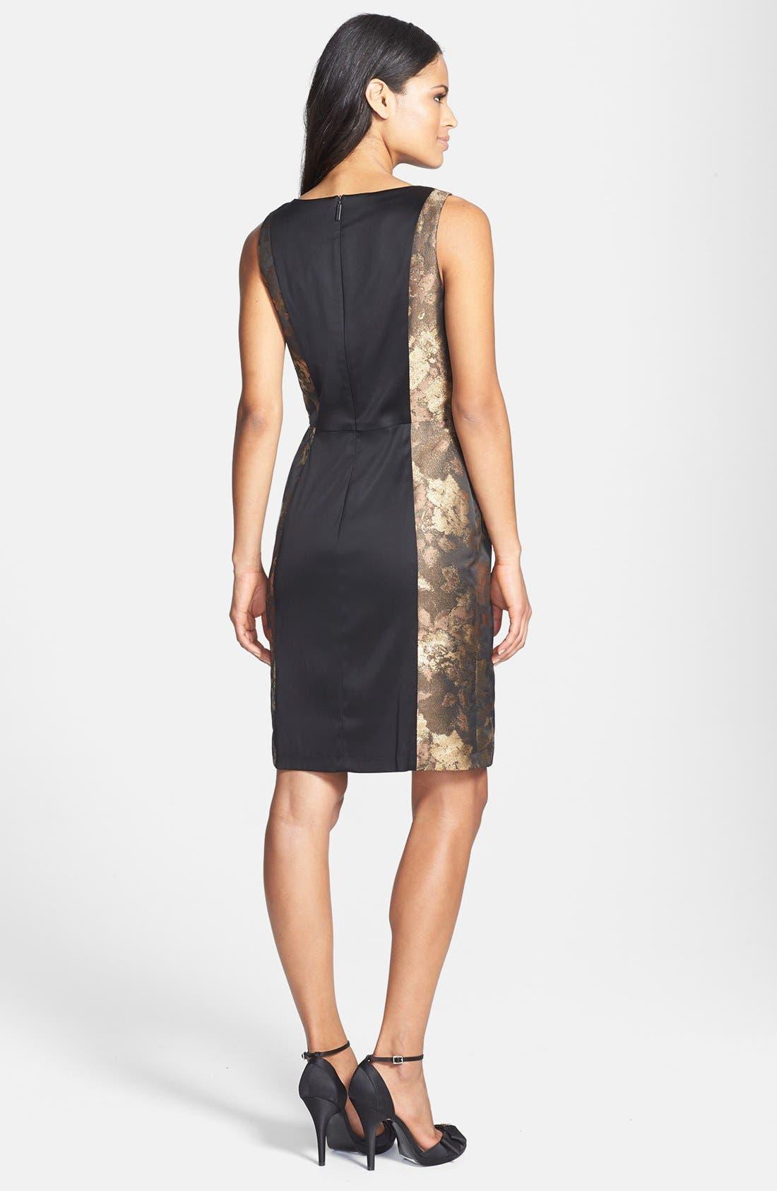 Alternate Image 2  - Donna Ricco Metallic Lace & Jacquard Sheath Dress (Petite)