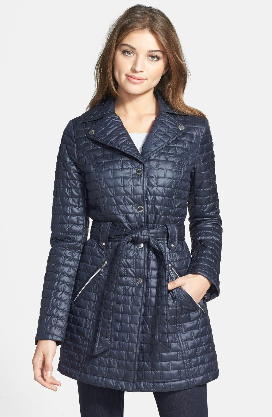 Alternate Image 1 Selected - Laundry by Shelli Segal Belted Quilted Trench Coat