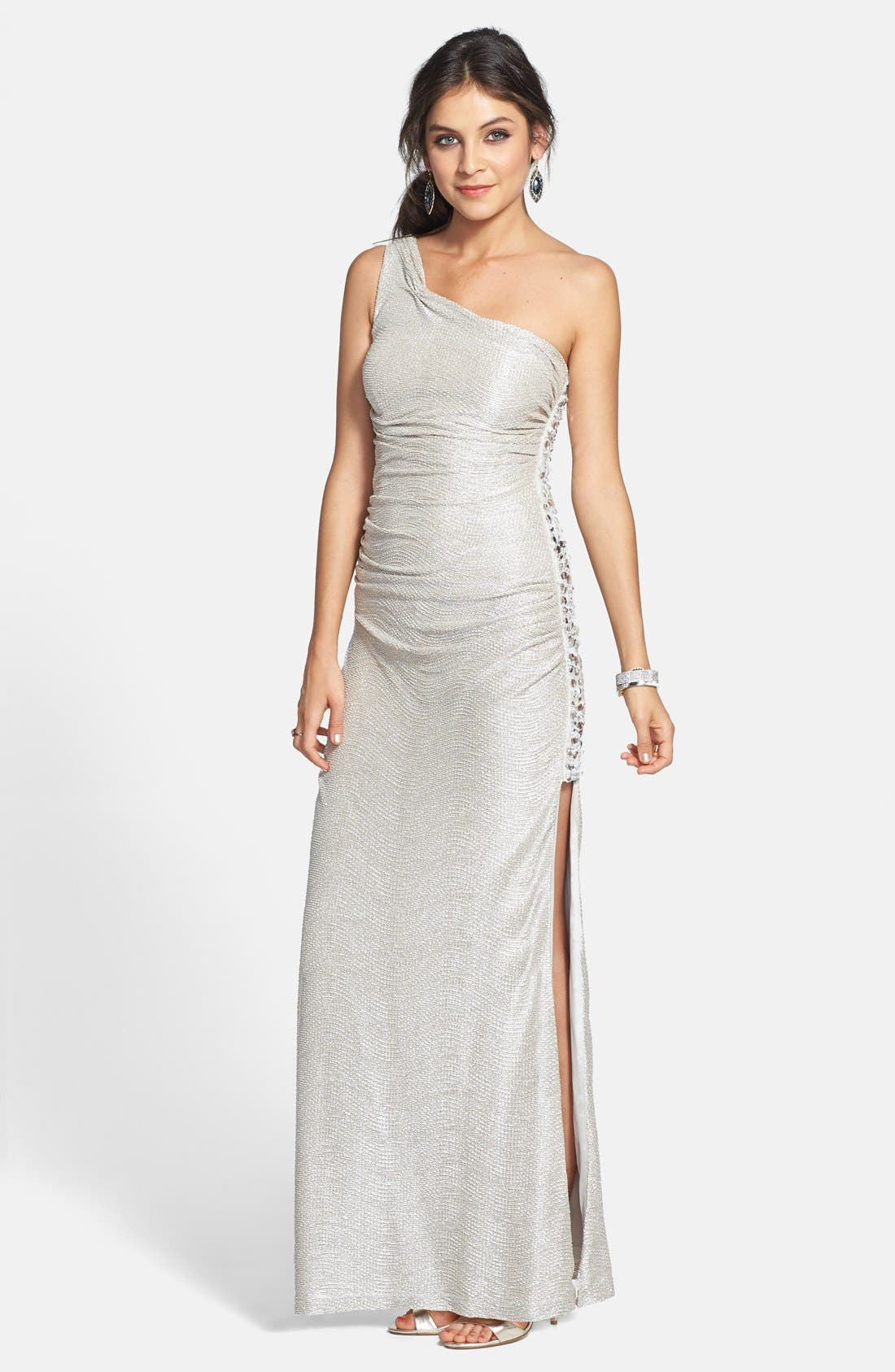 Main Image - Hailey by Adrianna Papell Embellished Textured Metallic One Shoulder Gown